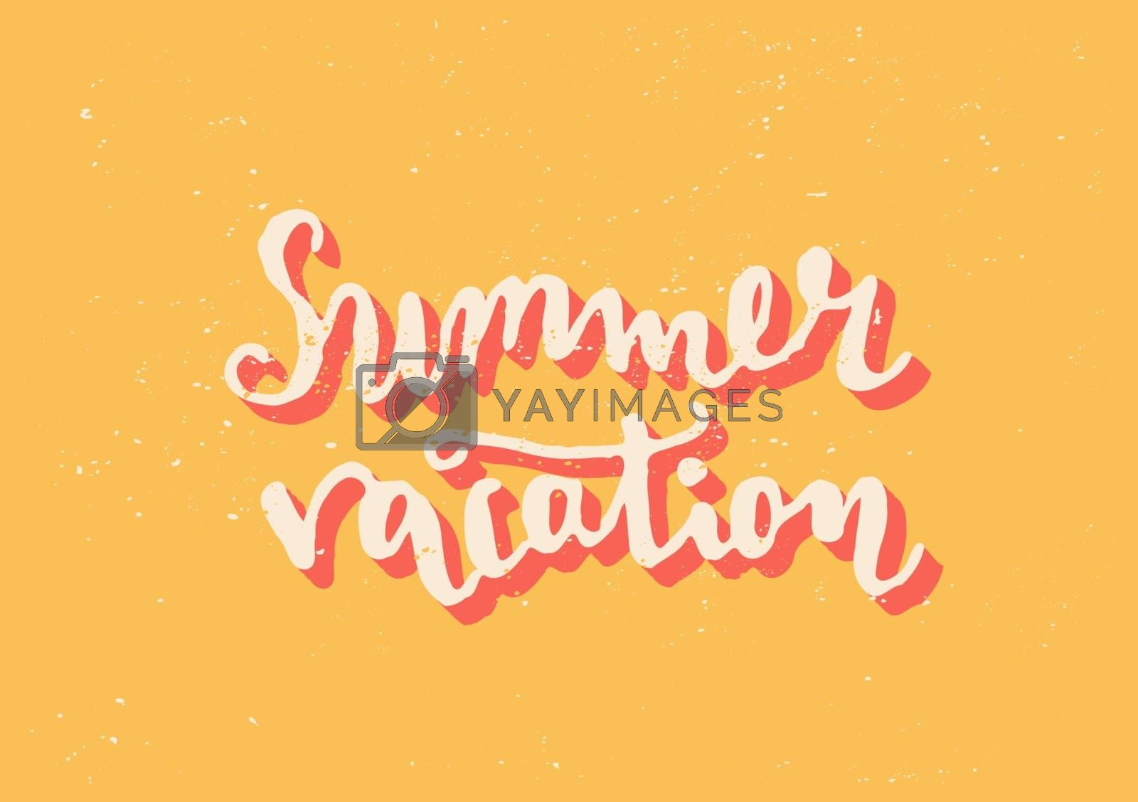 "Hand drawn typographic design ""Summer Vacation"" in bright yellow, white and orange."