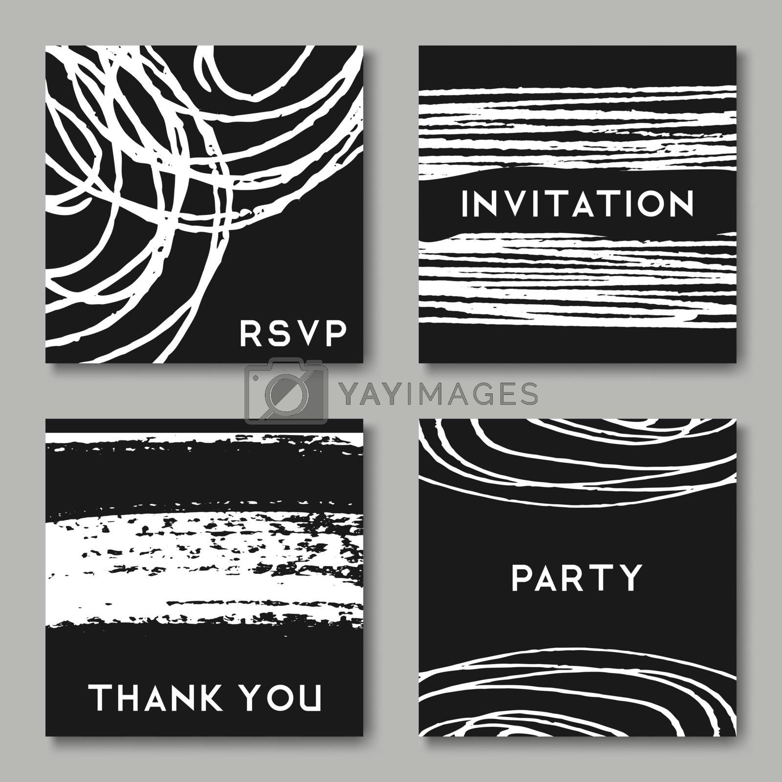 A set of hand drawn style greeting card templates in black and white. Abstract brush strokes, ink doodles and floral element pattern designs with copy space. EPS 10 file, gradient mesh used.