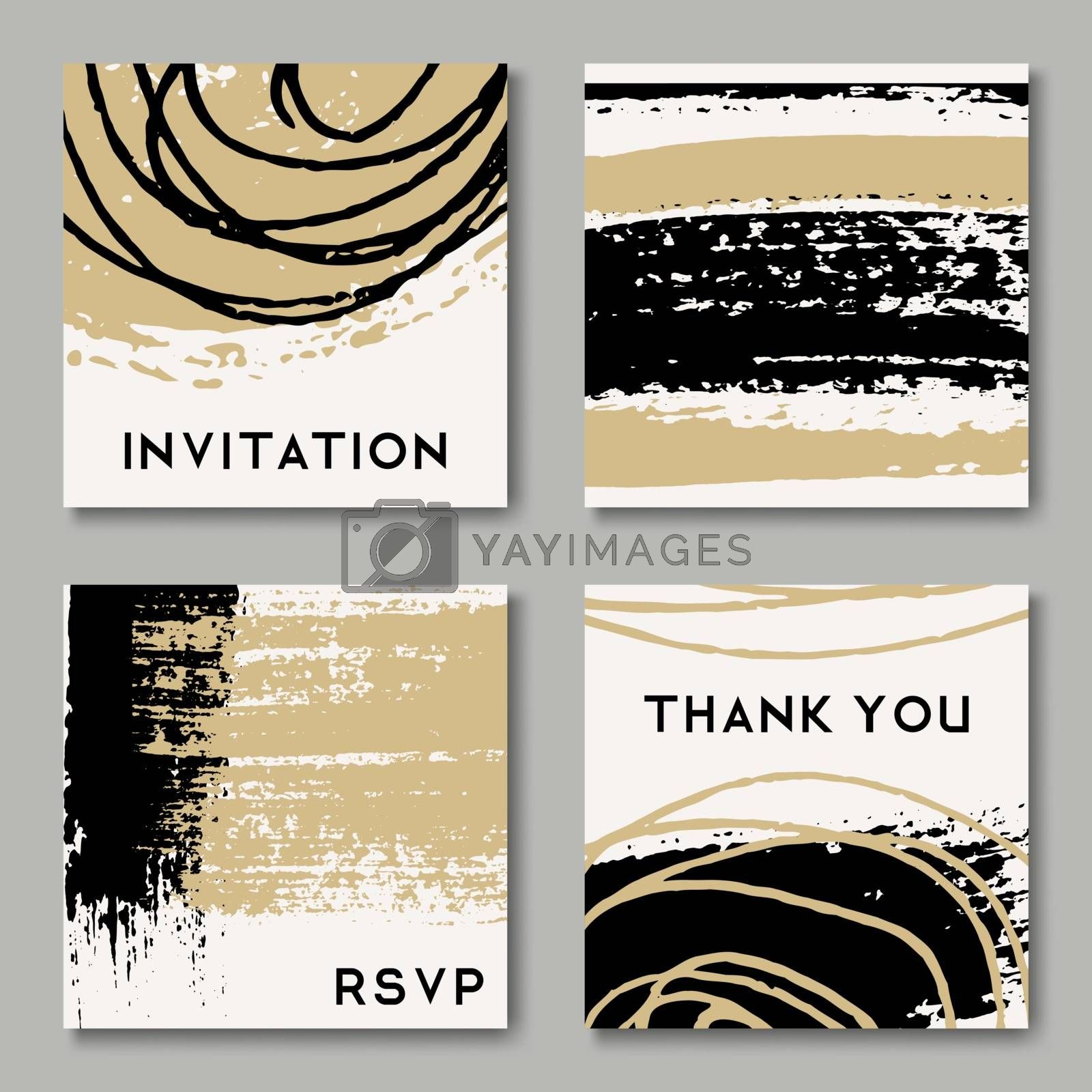 A set of hand drawn style greeting card templates in black, white and golden. Abstract brush strokes and ink doodle pattern designs with copy space. EPS 10 file, gradient mesh used.