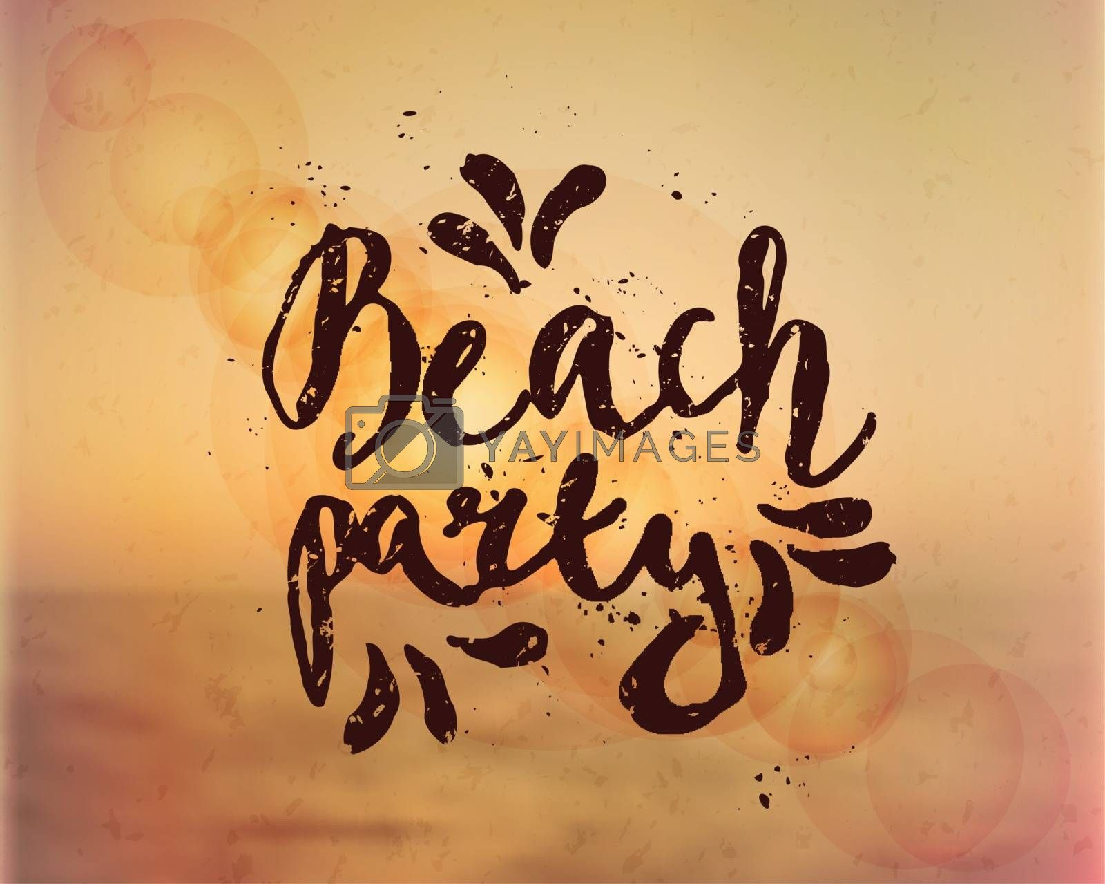 "Hand drawn typographic design ""Beach Party"" on a blurred summer background. EPS 10 file, gradient mesh and transparency effects used."