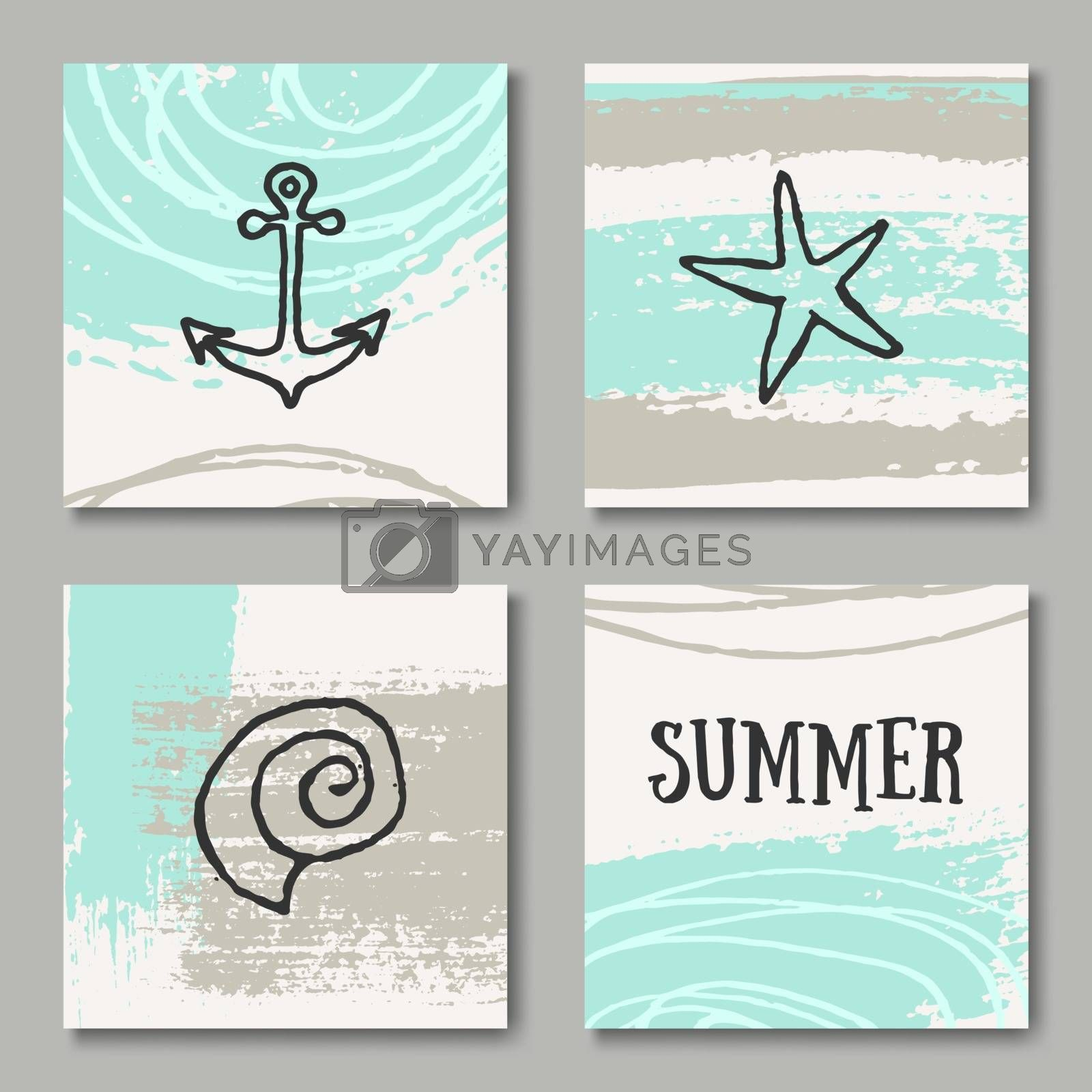 A set of four summer design greeting cards in black, white and pastel blue and sand colors.
