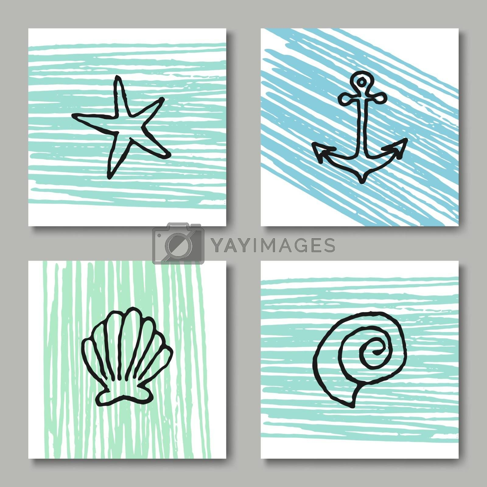 A set of four summer design greeting cards in black, white and pastel blue and green colors.