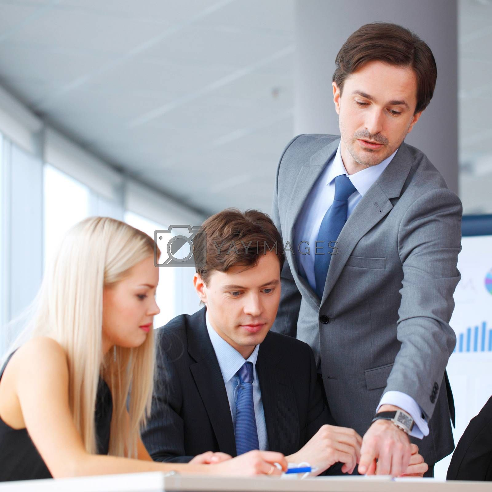 business people discussing financial report