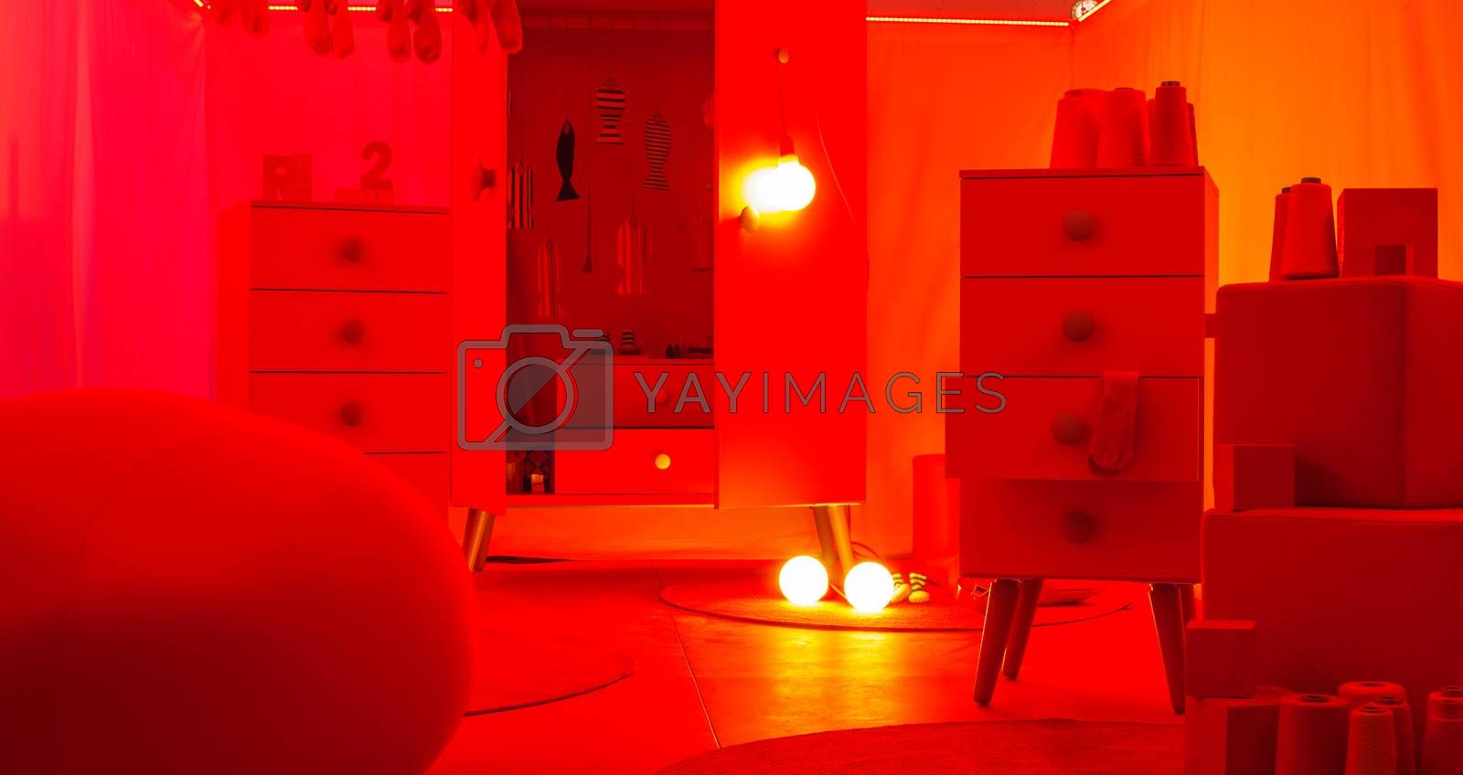 Red bedroom by bepsimage