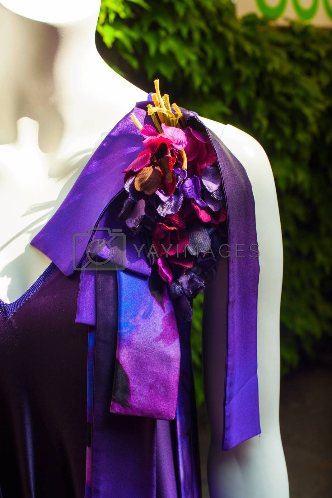 View of female purple dress with ribbon