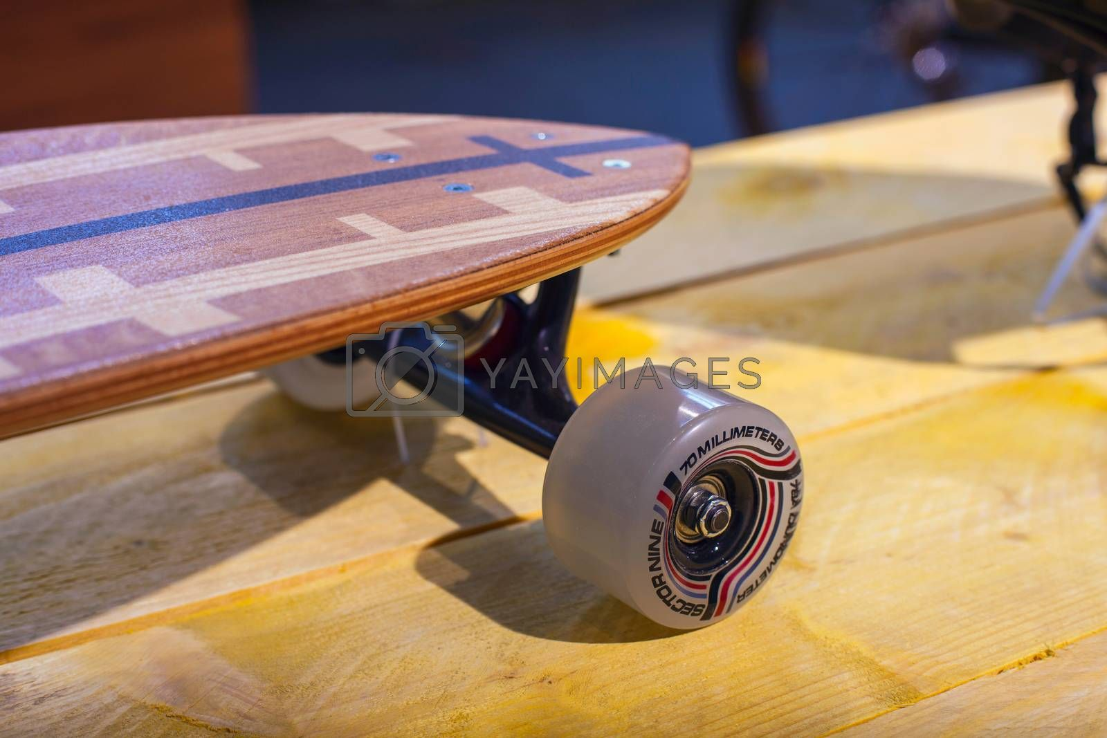 MILAN, ITALY - APRIL 16: Close up of skateboard at Tortona space location of important events during Milan Design week on April 16, 2015