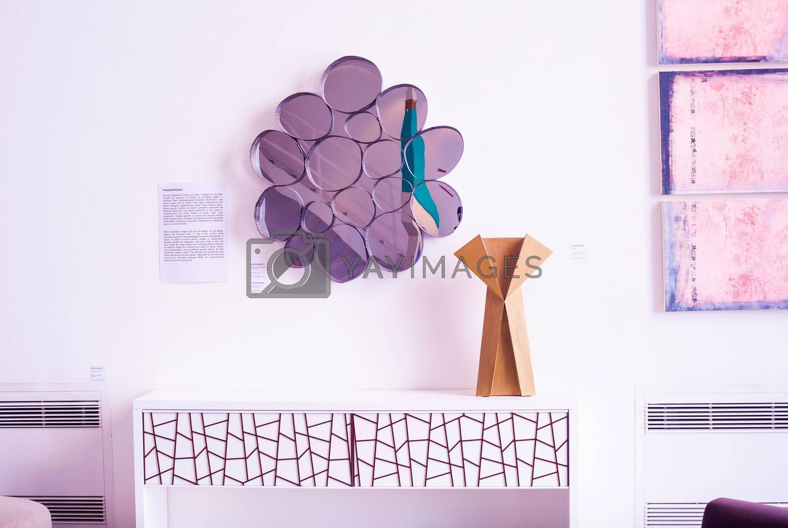 MILAN, ITALY - APRIL 16: Piazzadispagna9 present 9collection series of unique furniture pieces at Tortona space location of important events during Milan Design week on April 16, 2015