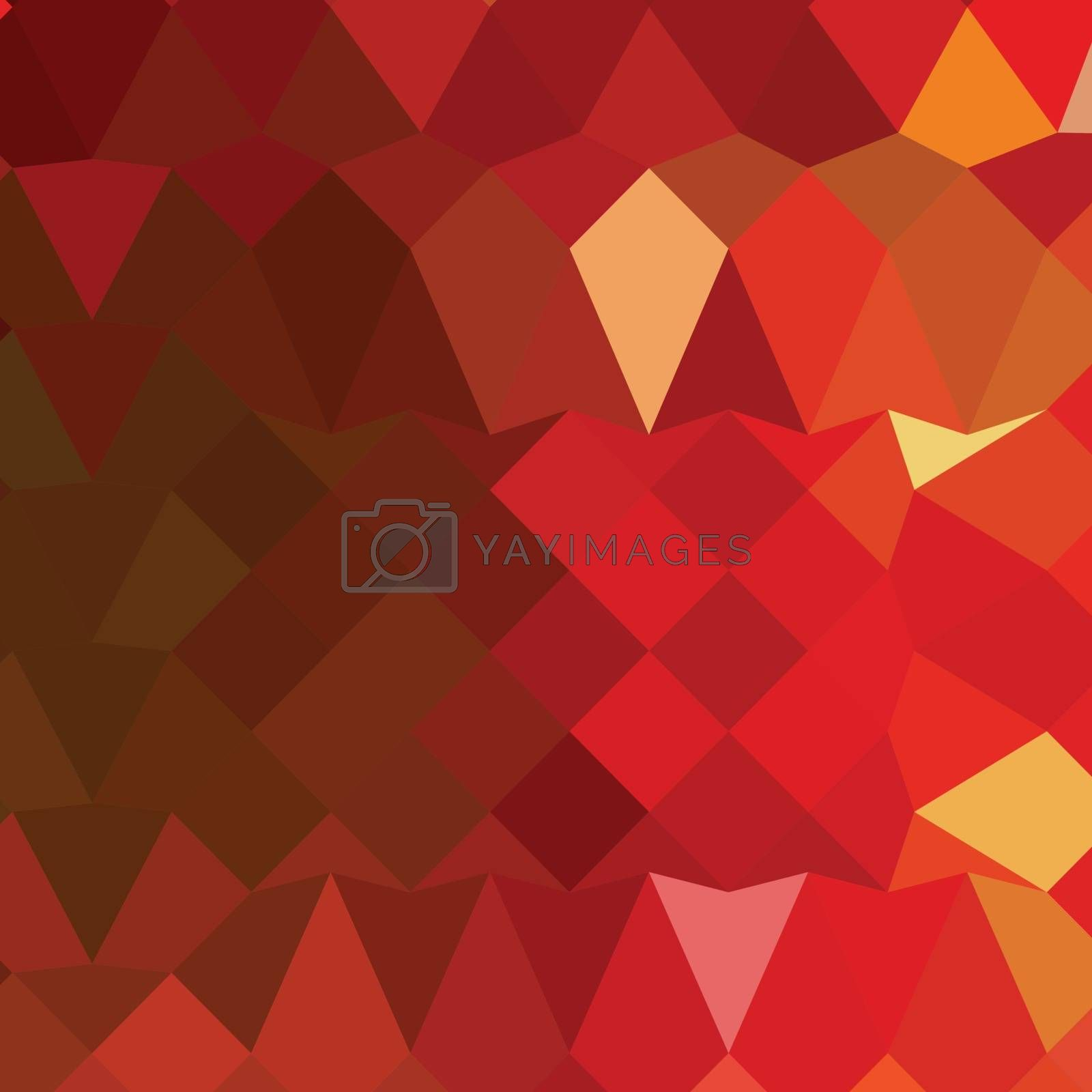 Low polygon style illustration of incardine red abstract geometric background.