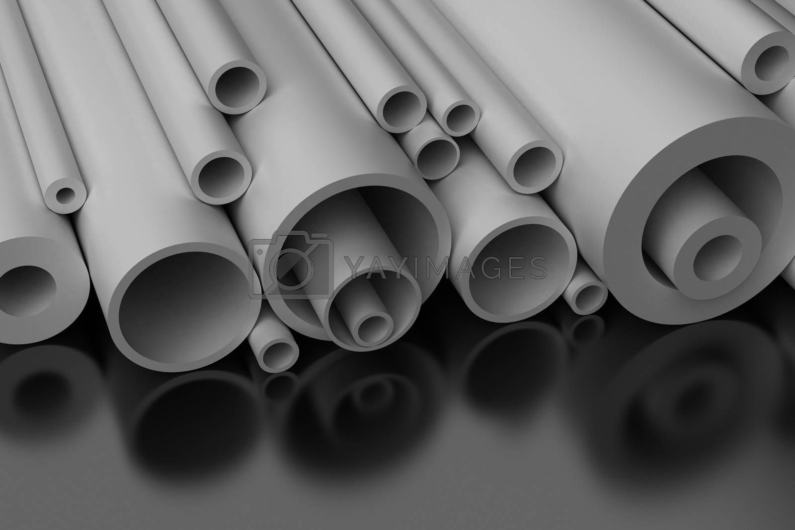 Pilastic Pipes on black background