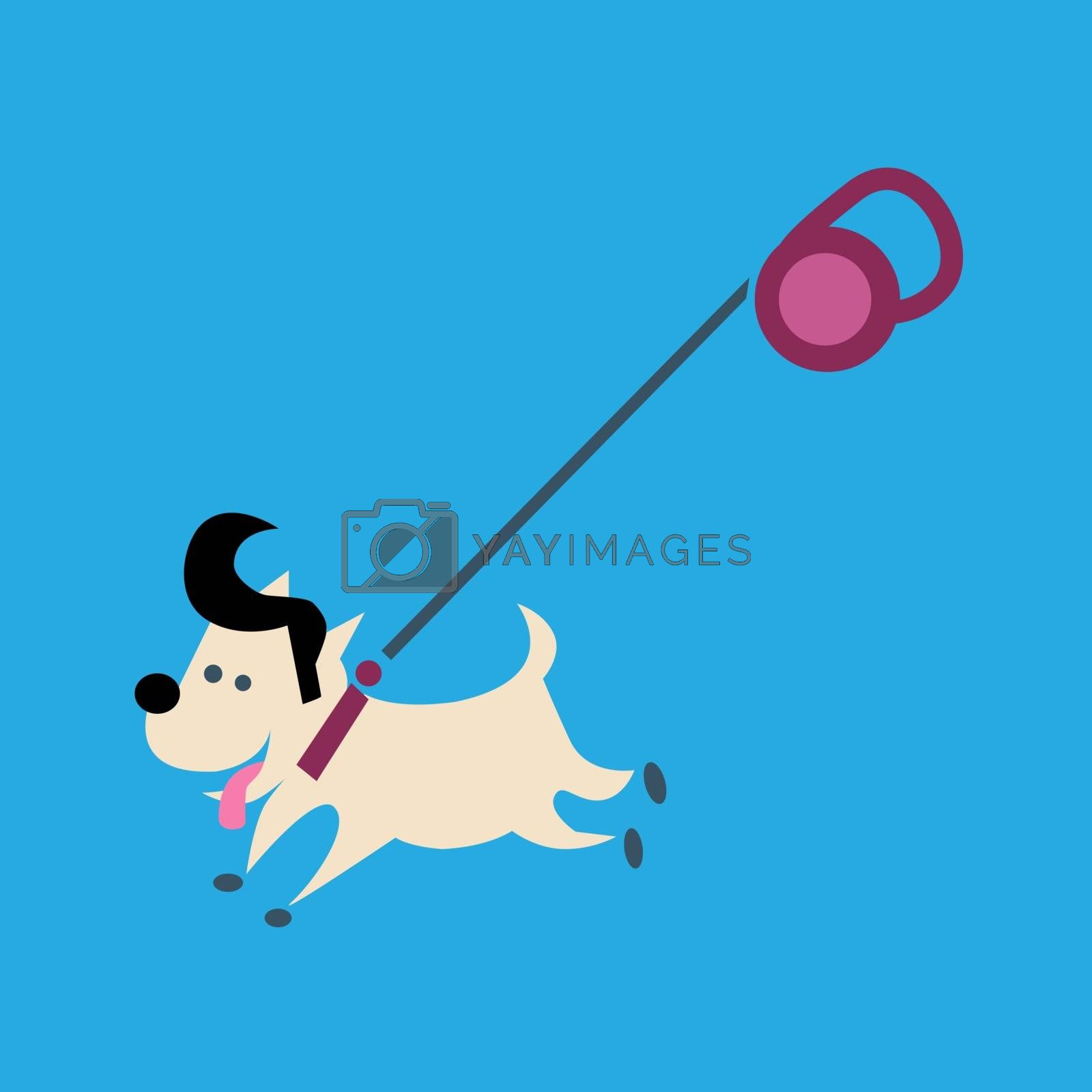 Little joyful fashionable dog on a leash. Walk