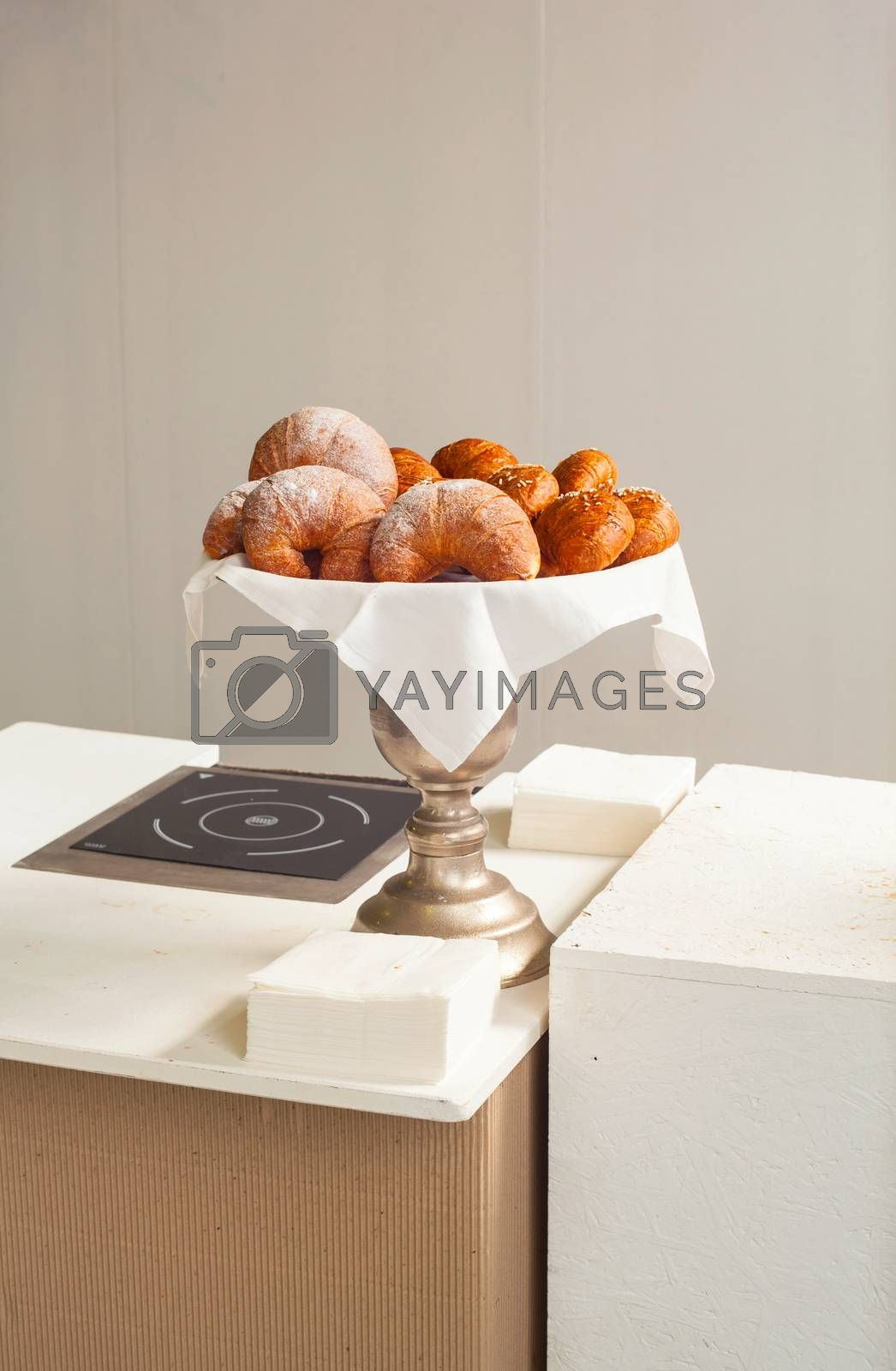 View of Italian croissants on silver tray