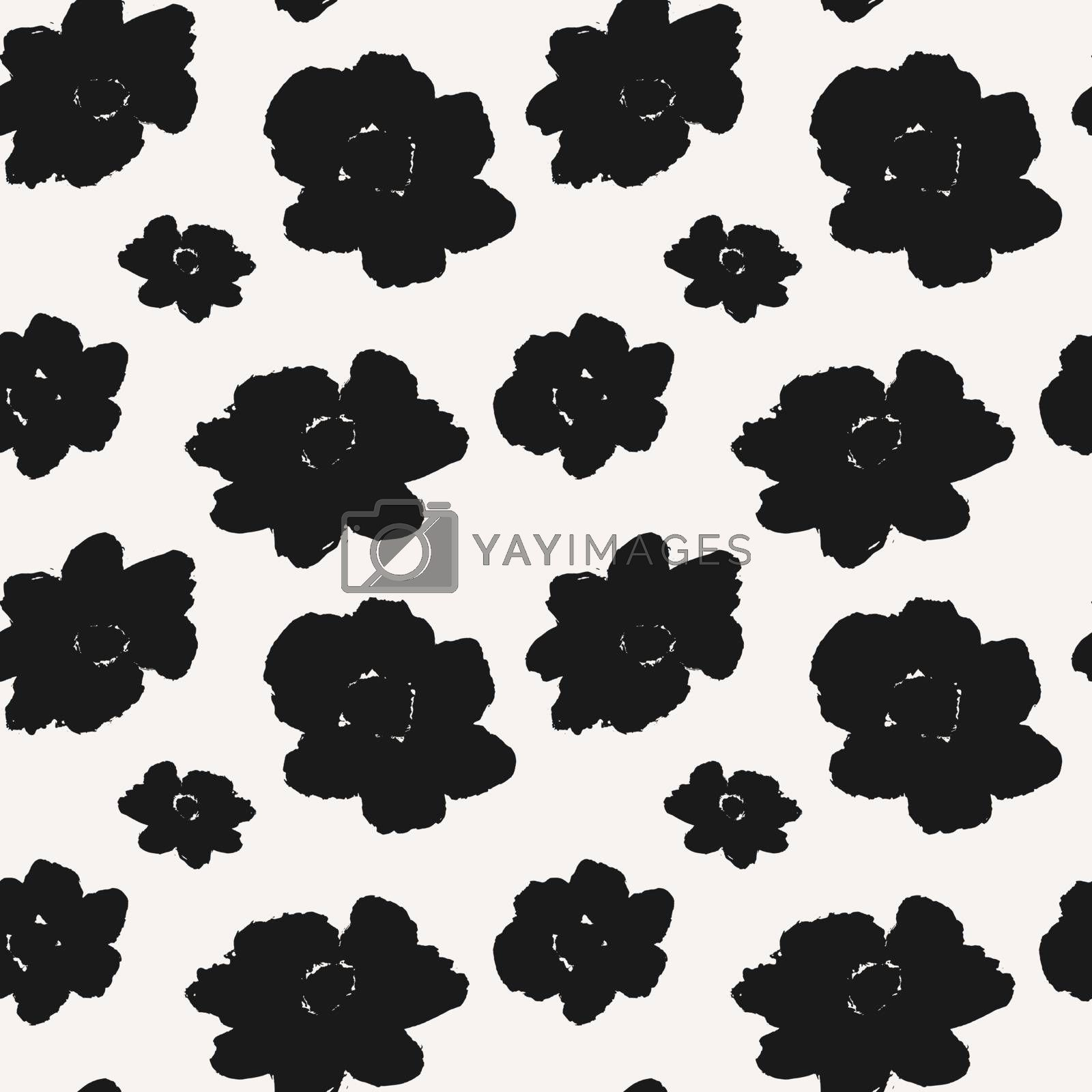 Hand drawn flowers seamless pattern. Monochrome repeat pattern with abstract brush strokes.