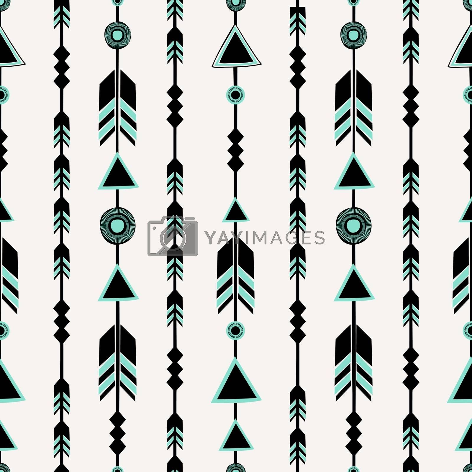 Seamless pattern with arrows in black and blue, tribal repeat background.