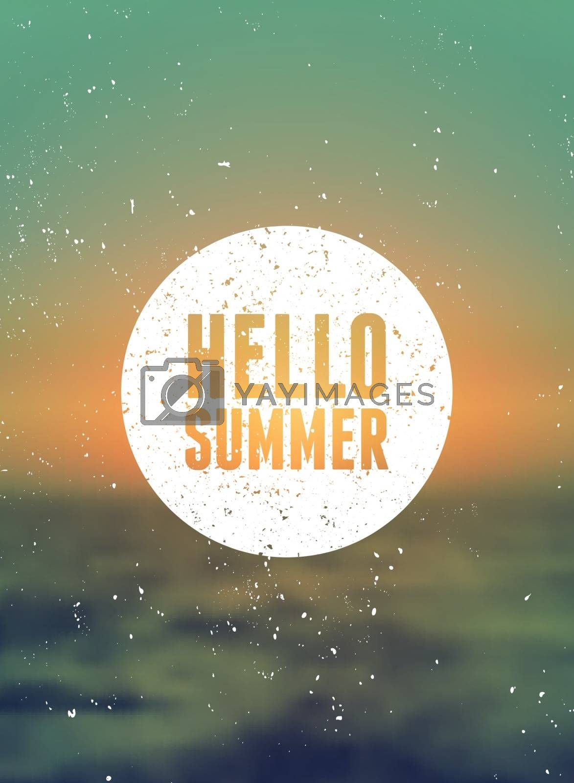 """Hello Summer"" typographic design on a blurred summer background. EPS 10 file, gradient mesh and transparency effects used."