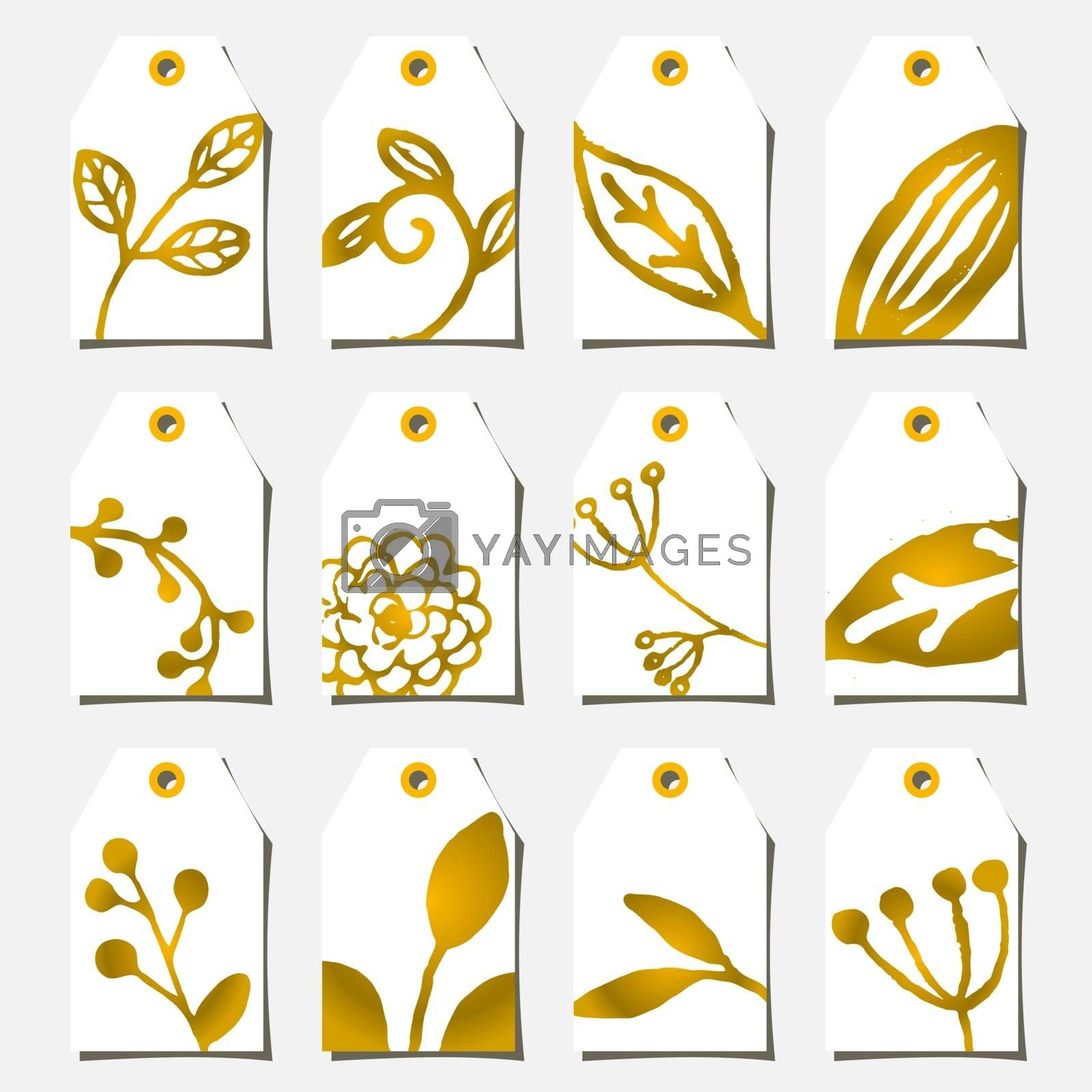 A set of twelve hand drawn floral design labels in golden and white.