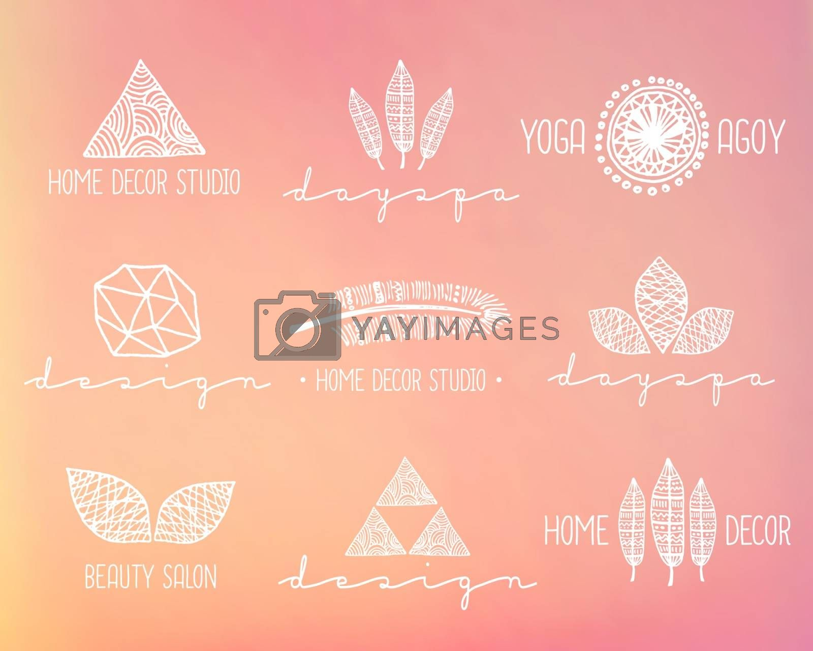 A set of hand drawn vintage style design elements. Modern and elegant premade typographic logo designs on a blurred background. EPS 10 file, gradient mesh used.