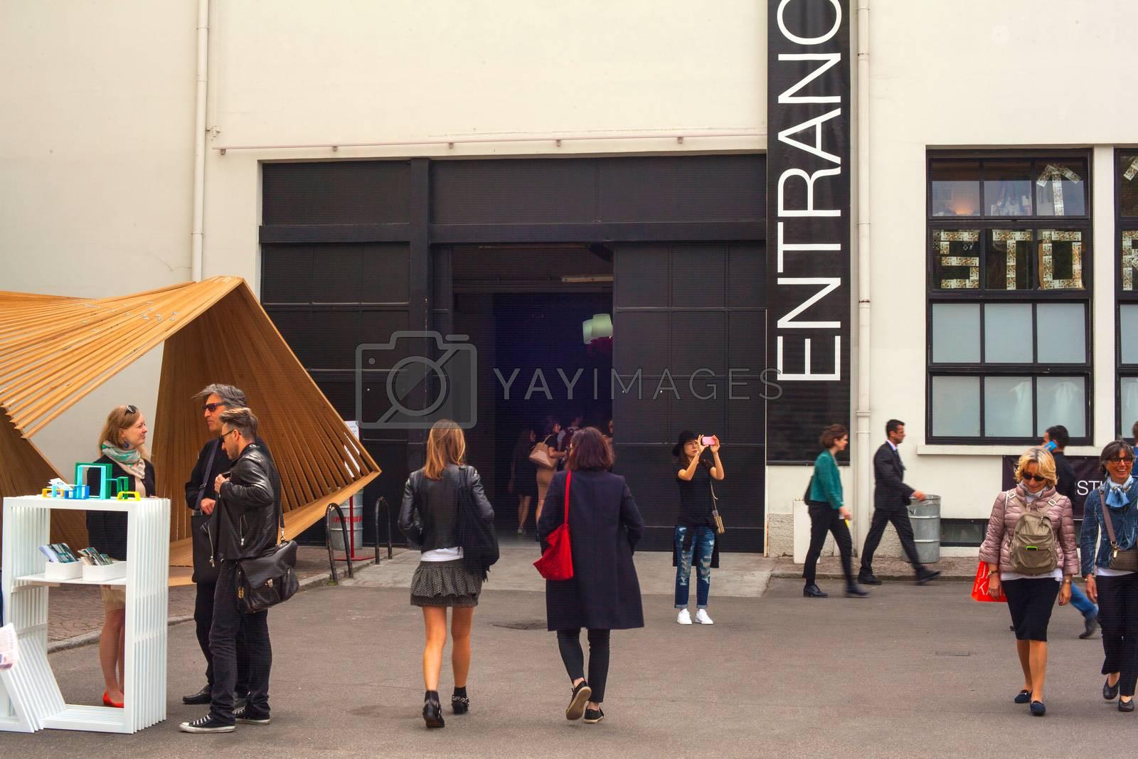 People visit Fuorisalone during Milan Design week, 2015 by bepsimage