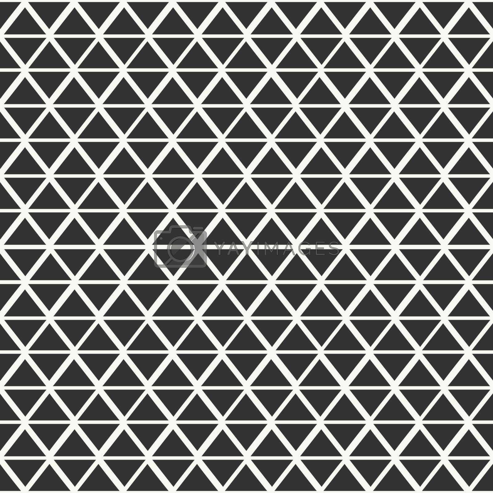 Abstract seamless pattern with triangles in off-white and dark gray.