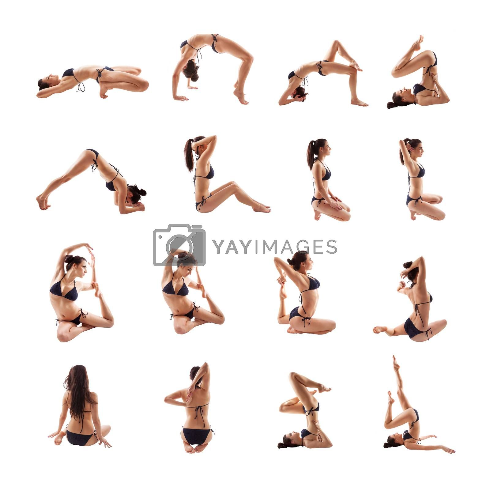 Beautiful and sexy brunette in various stretching and relaxing poses isolated on white background. Yoga and stretching.