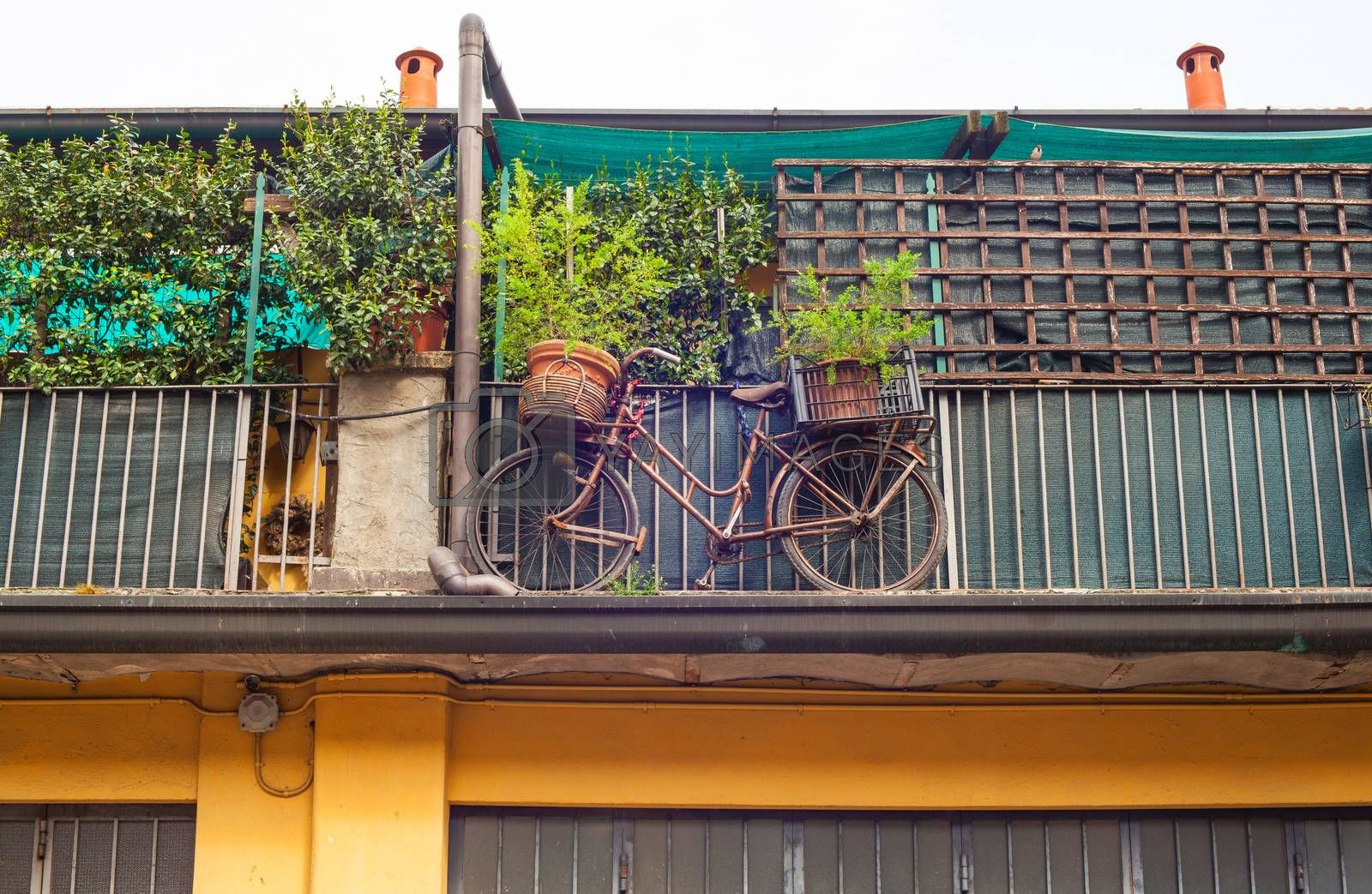 View of old bike on the house balcony