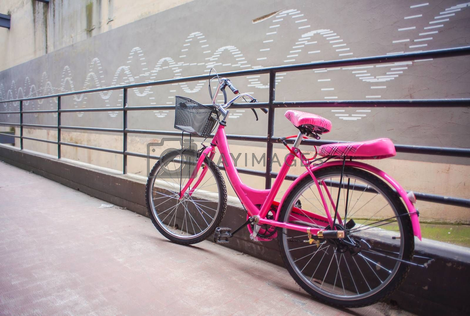 View of pink bicycle next to the iron railing
