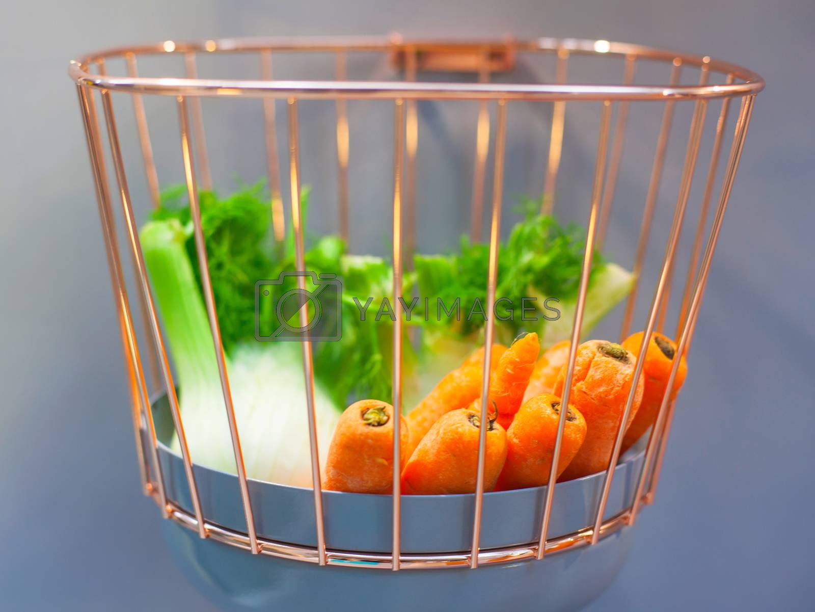 View of Fennels and carrots inside the iron basket
