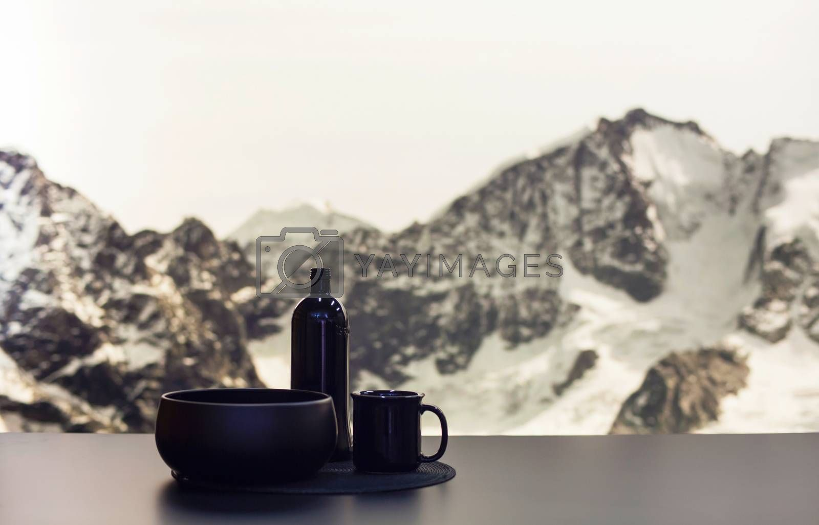 MILAN, ITALY - APRIL 16: Black pottery displayed at Ventura - Lambrate space location of important events during Milan Design week on April 16, 2015