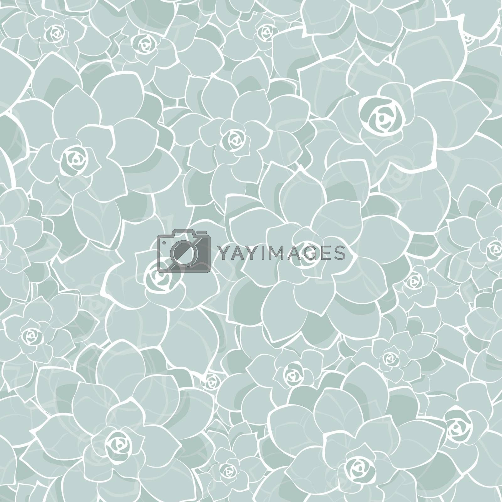 Vector silver gray succulents texture seamless pattern background graphic design