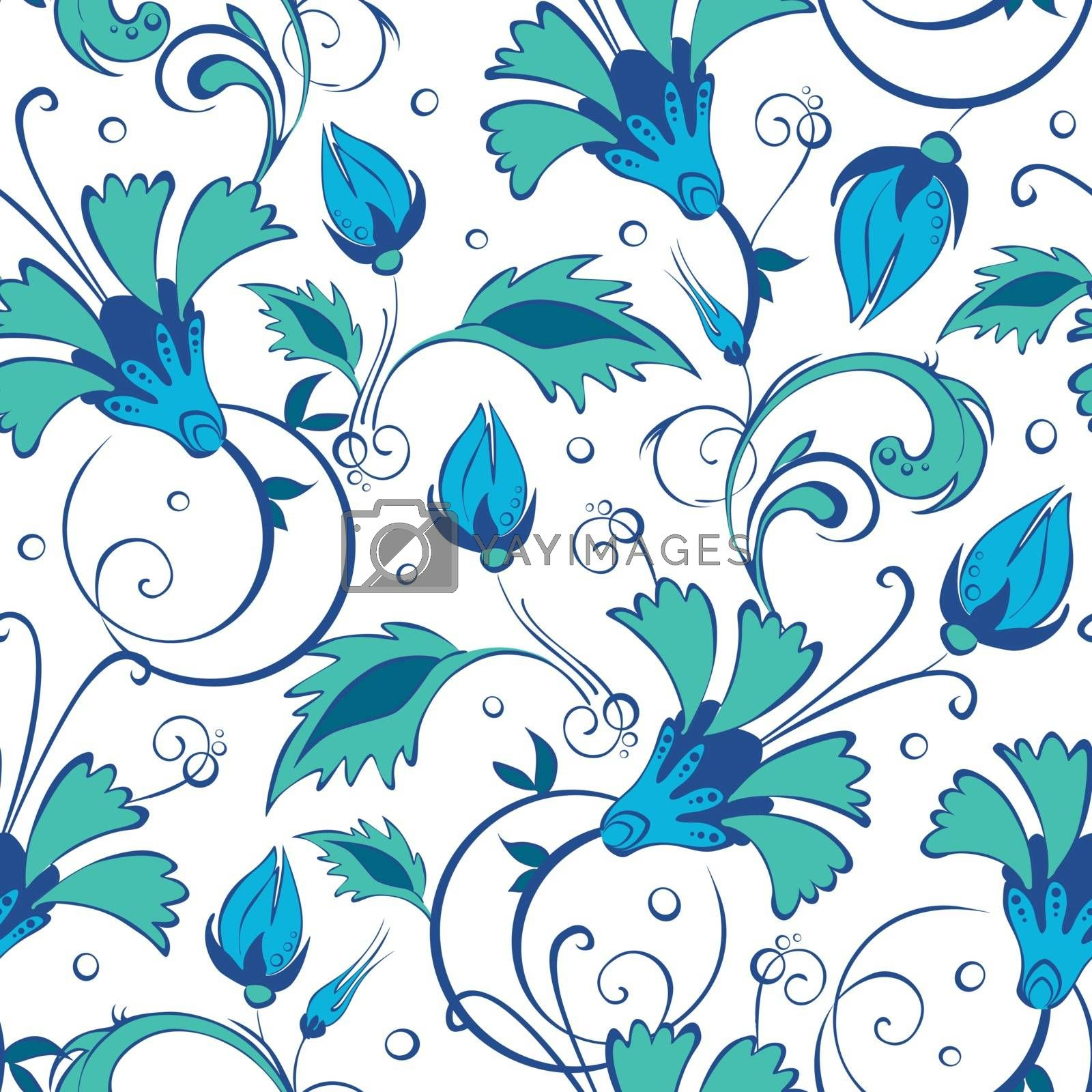 vector blue green swirly flowers seamless pattern background graphic design