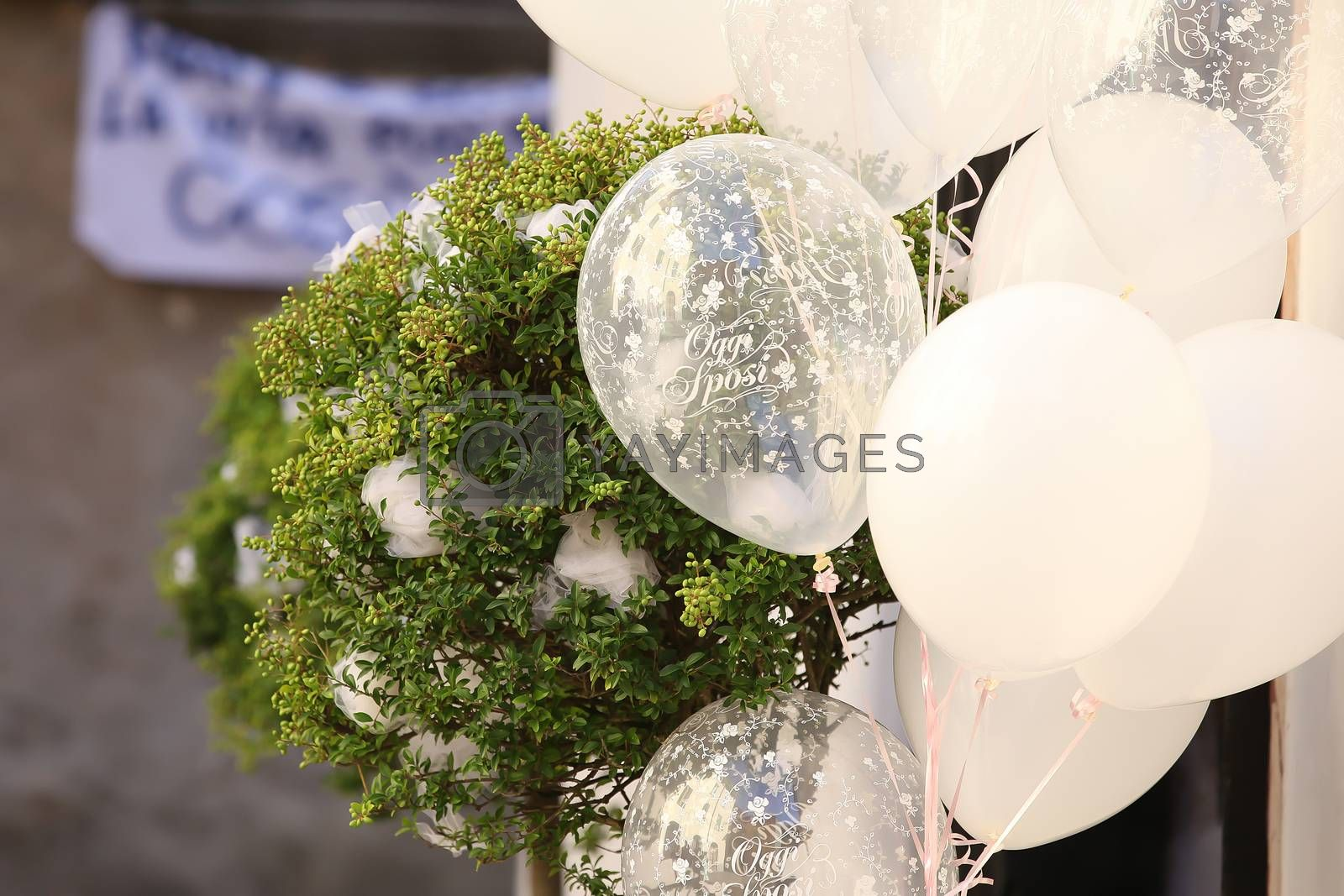 Wedding Flowers and White Ballons