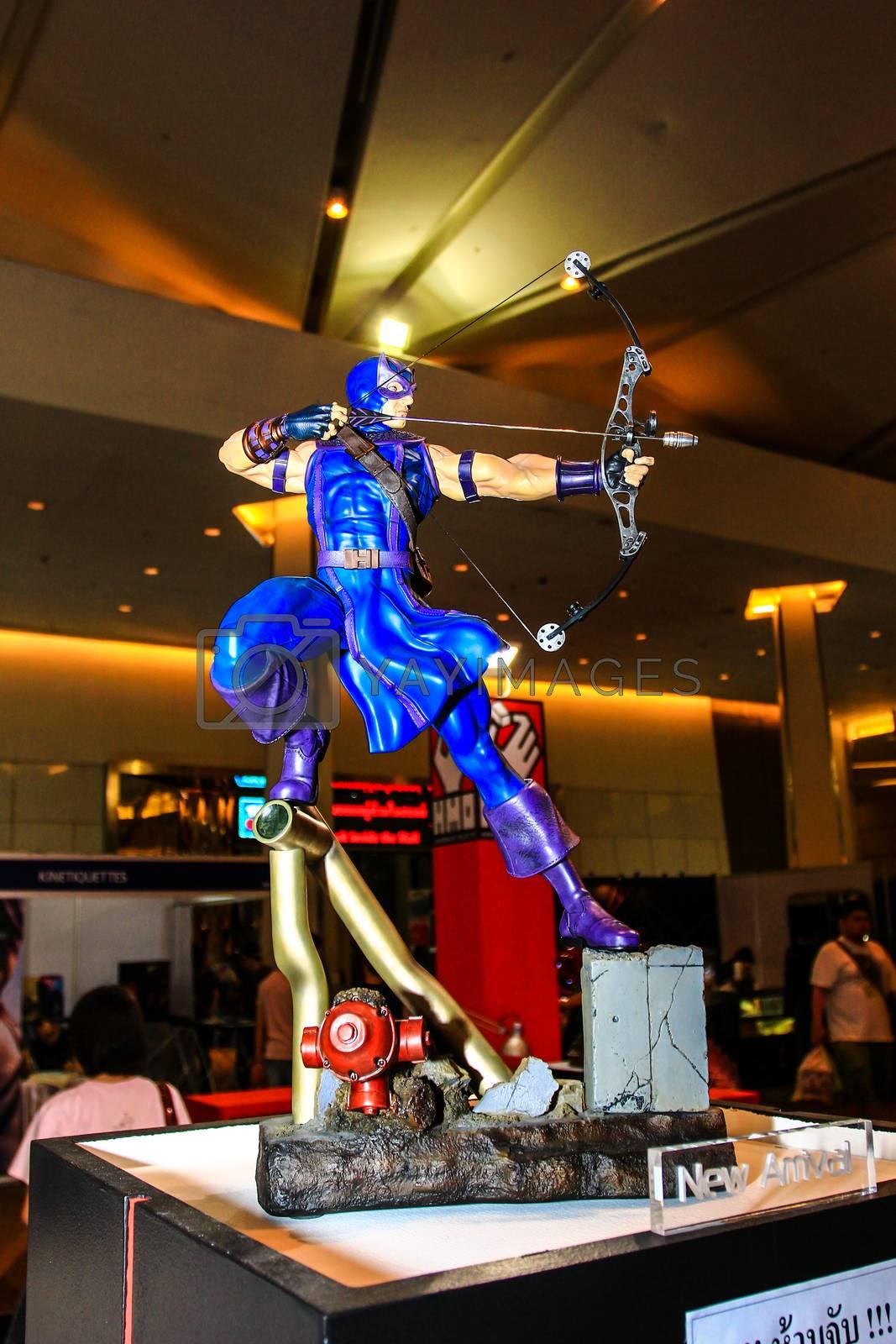 Bangkok - May 2: A Hawkeye model in Thailand Comic Con 2015 on May 2, 2015 at Siam Paragon, Bangkok, Thailand.