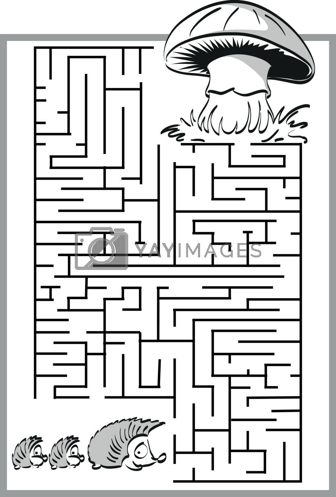 Mushroom labyrinth, maze with a cute hedgehog family. For children.