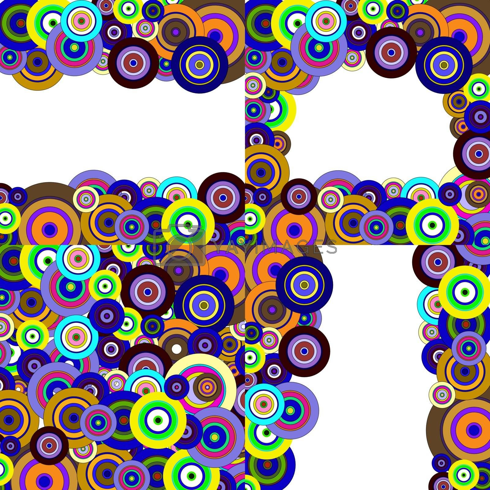 set with different color backgrounds circles. Illustration