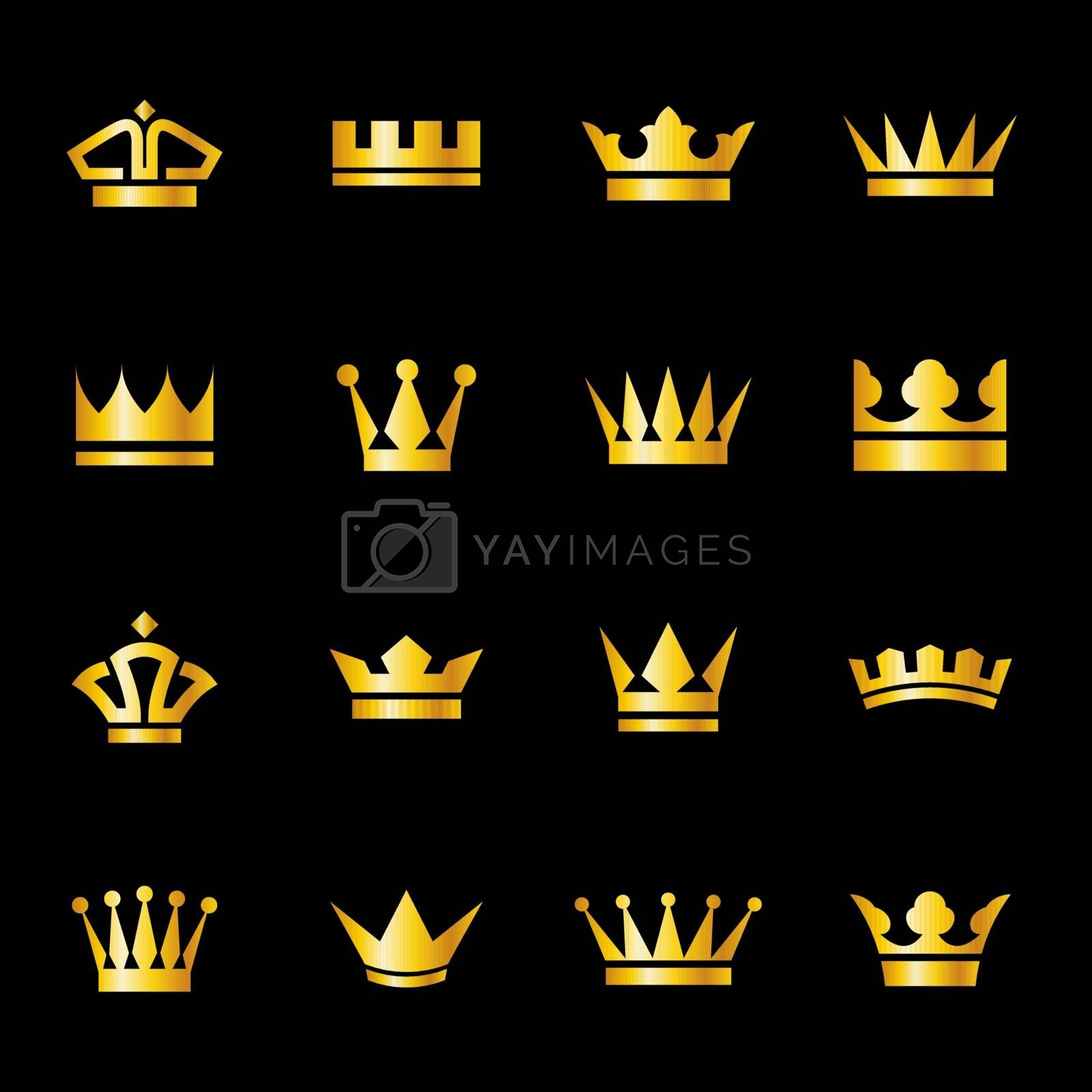 Set of icons  golden crowns isolated on  a black background