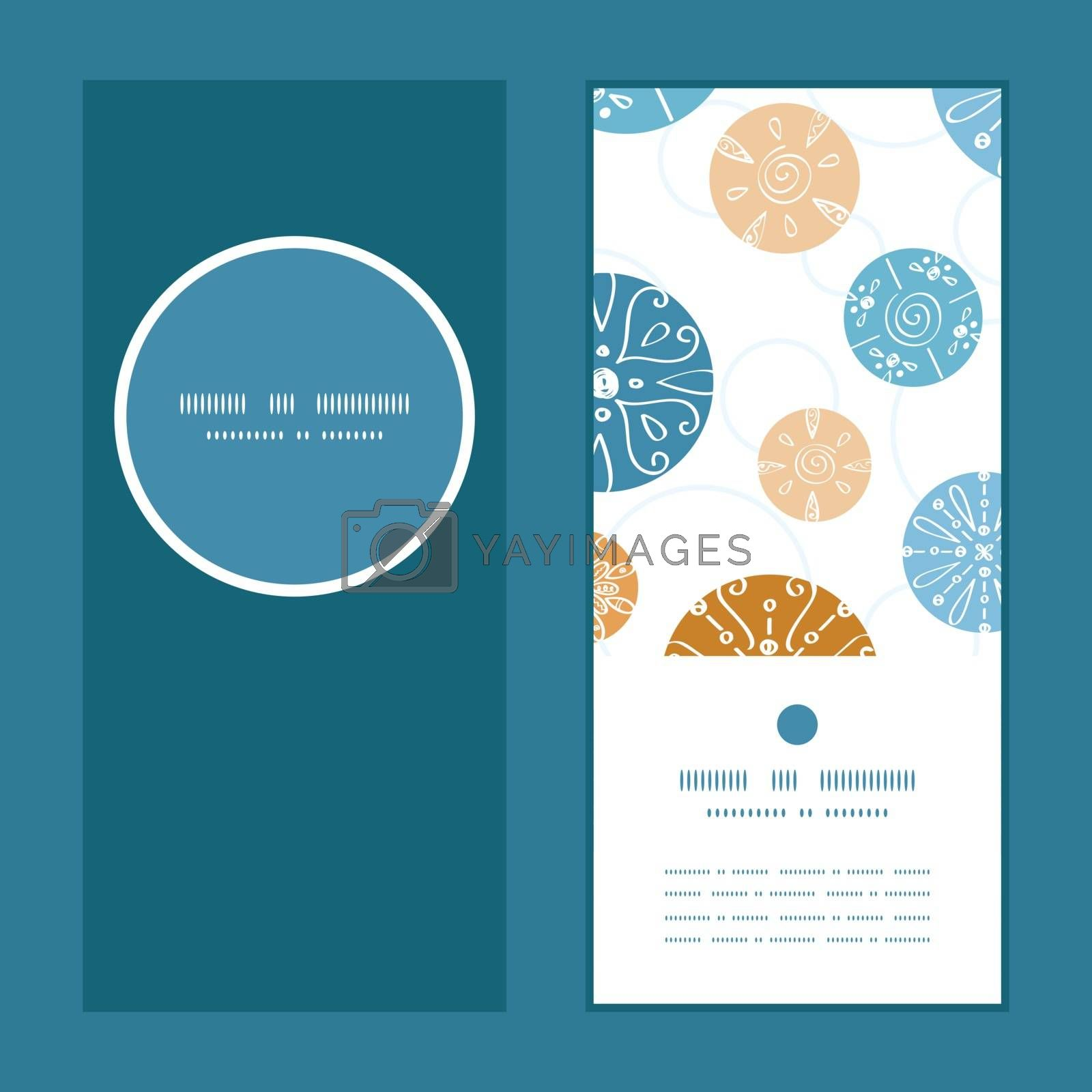 Vector abstract blue brown vintage circles back vertical round frame pattern invitation greeting cards set graphic design