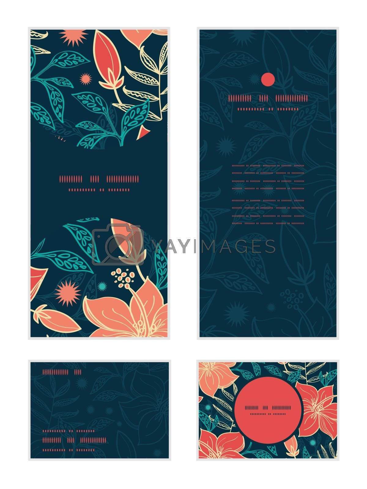 Vector vibrant tropical hibiscus flowers vertical frame pattern invitation greeting, RSVP and thank you cards set graphic design