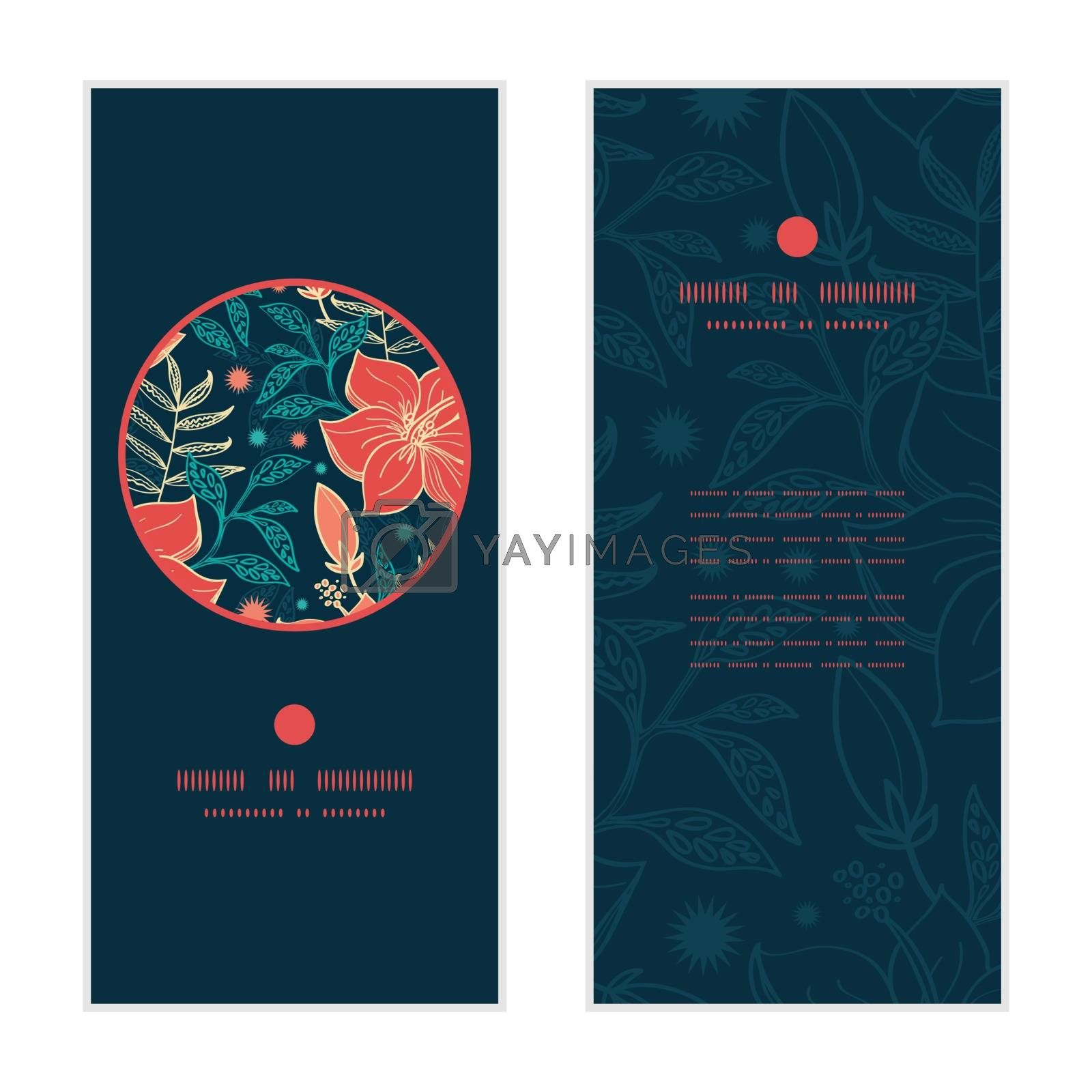 Vector vibrant tropical hibiscus flowers vertical round frame pattern invitation greeting cards set graphic design