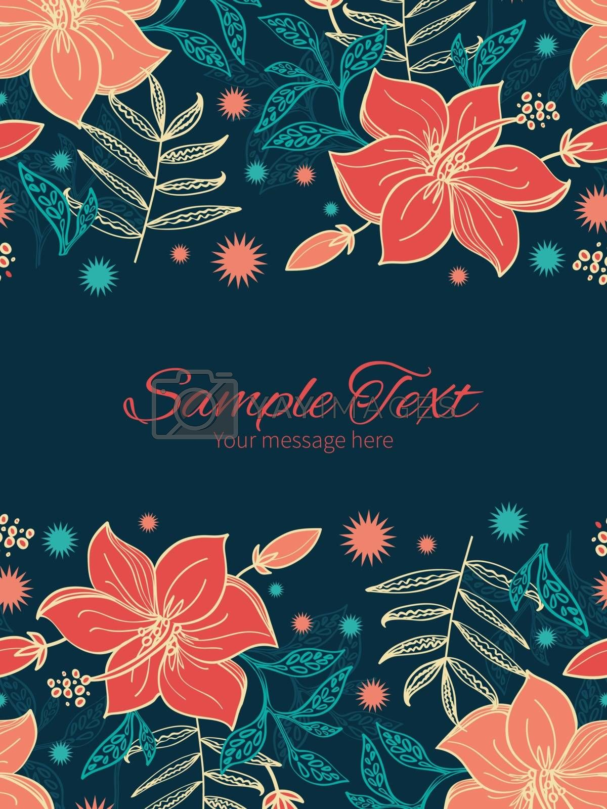 Vector vibrant tropical hibiscus flowers vertical double borders frame invitation template graphic design