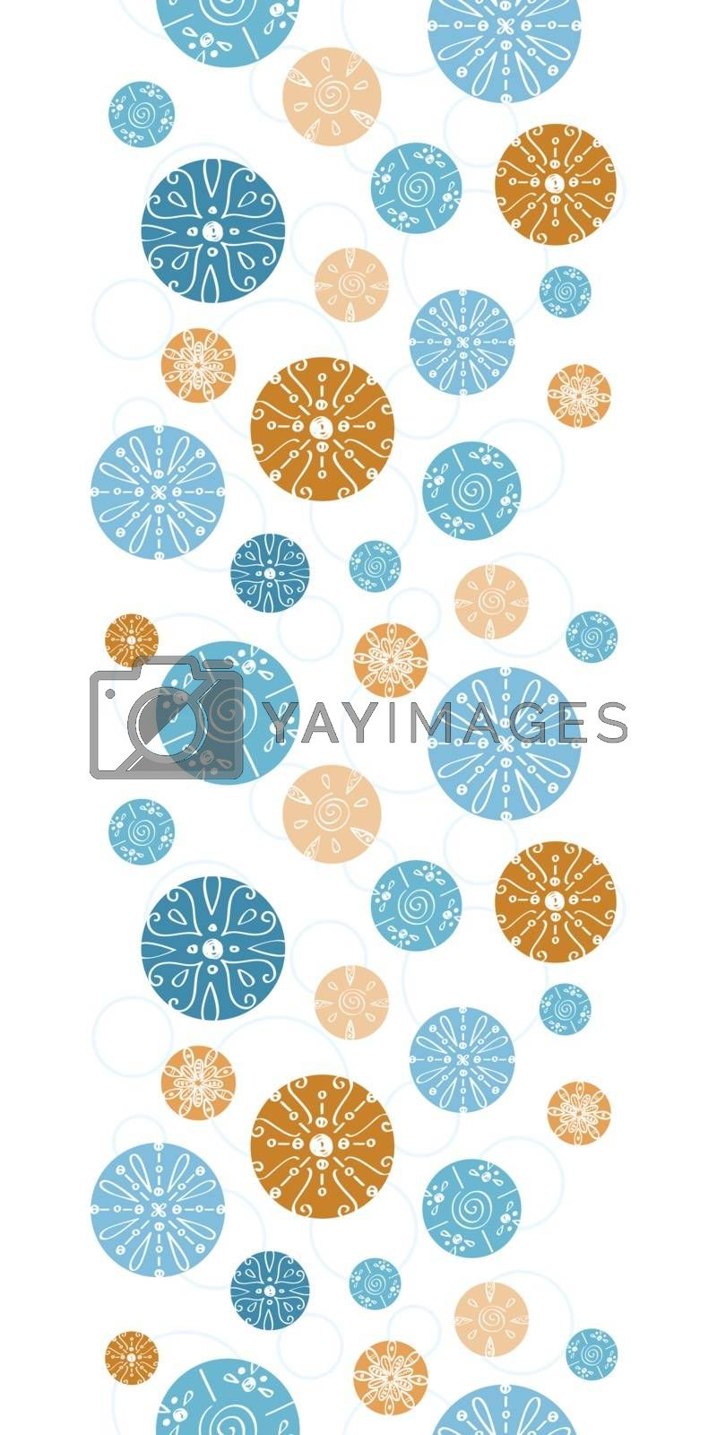 Vector abstract blue brown vintage circles back vertical border seamless pattern background graphic design