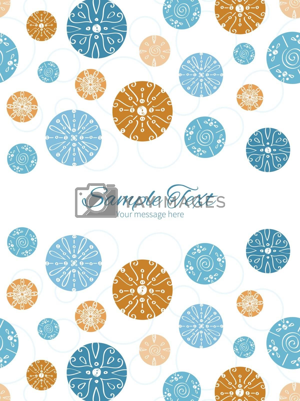 Vector abstract blue brown vintage circles back vertical double borders frame invitation template graphic design