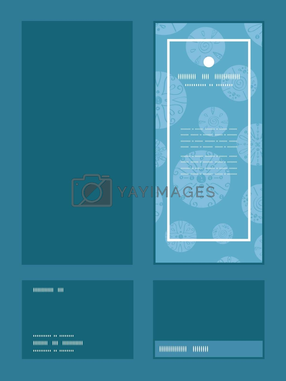 Vector abstract blue brown vintage circles back vertical frame pattern invitation greeting, RSVP and thank you cards set graphic design