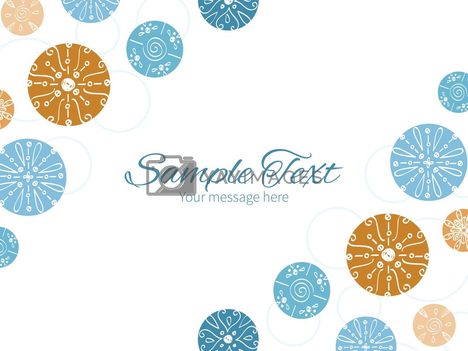 Vector abstract blue brown vintage circles back horizontal double corners frame invitation template graphic design