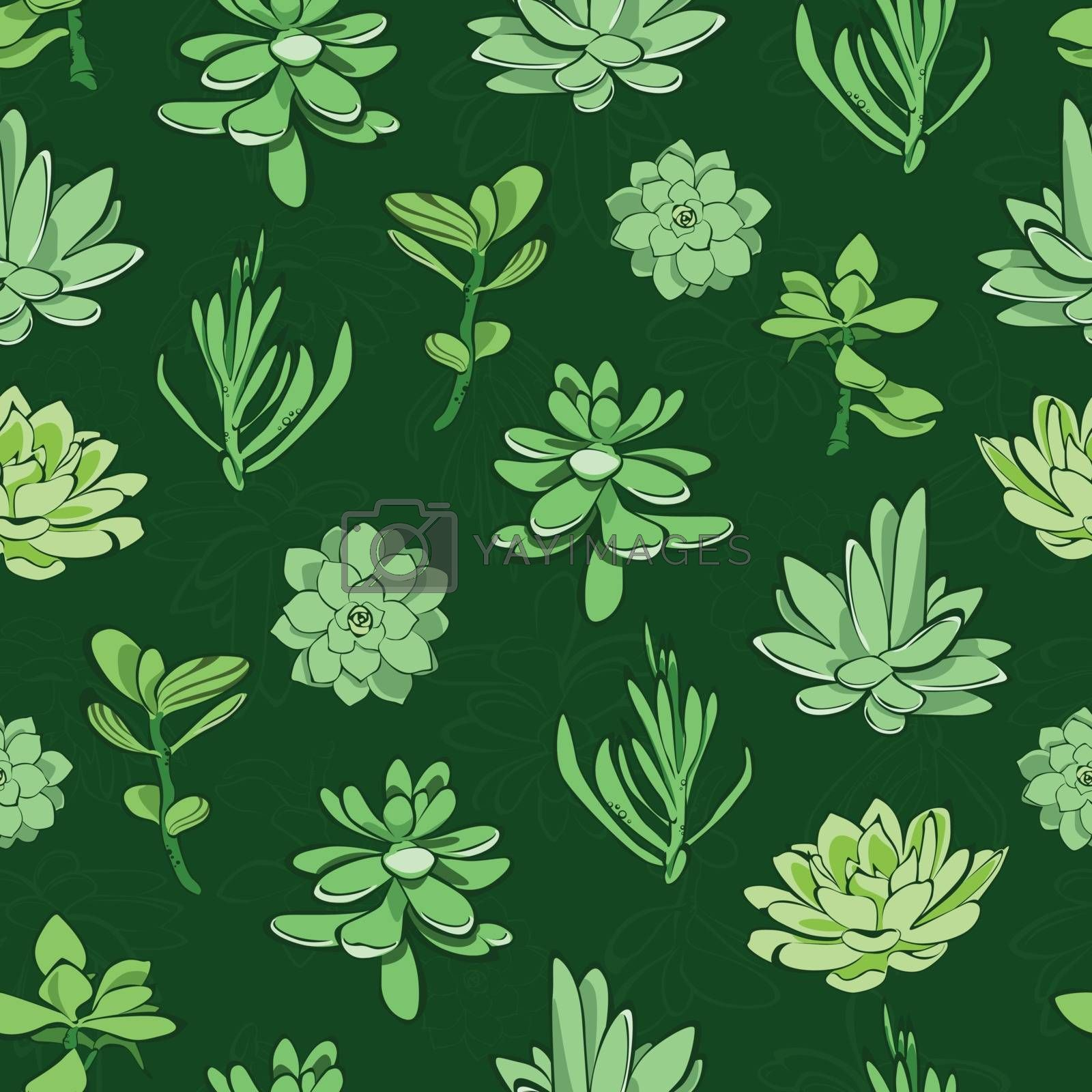 Vector fresh green succulents seamless pattern background graphic design