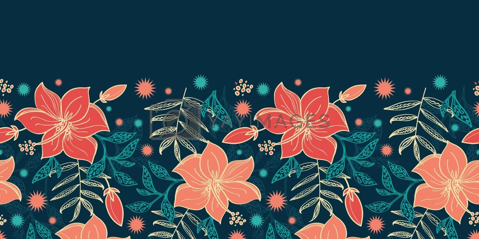 Vector vibrant tropical hibiscus flowers horizontal border seamless pattern background graphic design