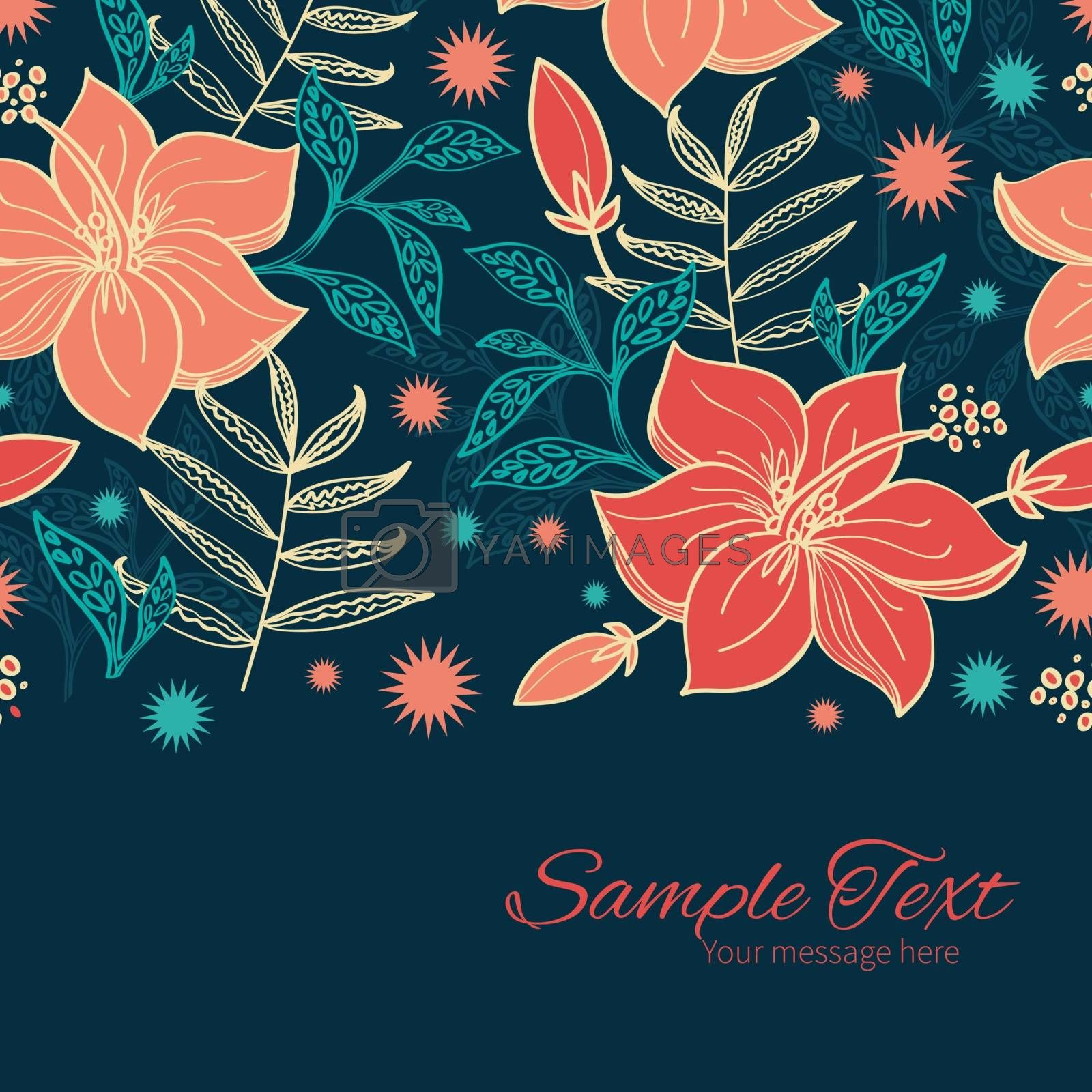 Vector vibrant tropical hibiscus flowers horizontal border card template graphic design
