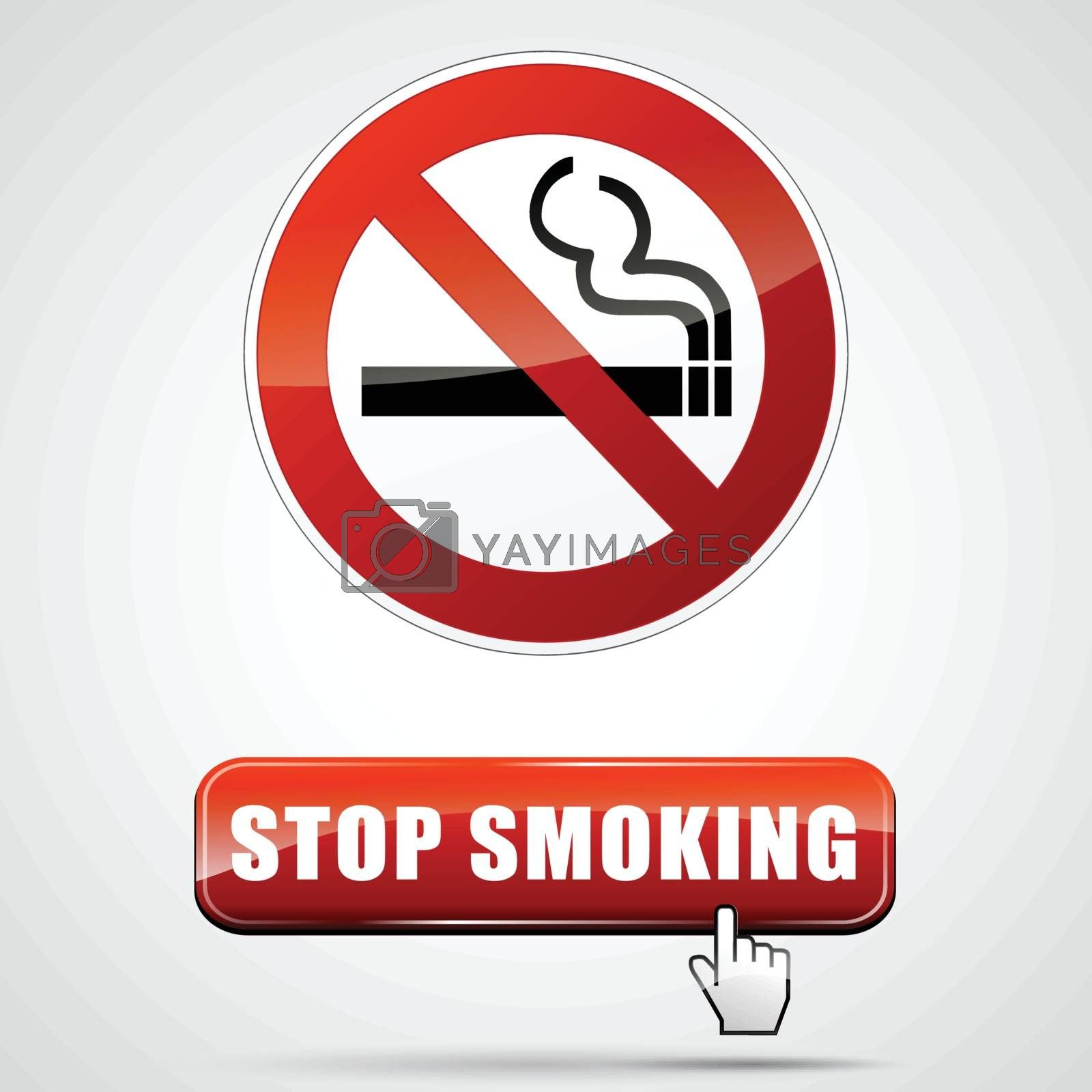 illustration of stop smoking sign with web button