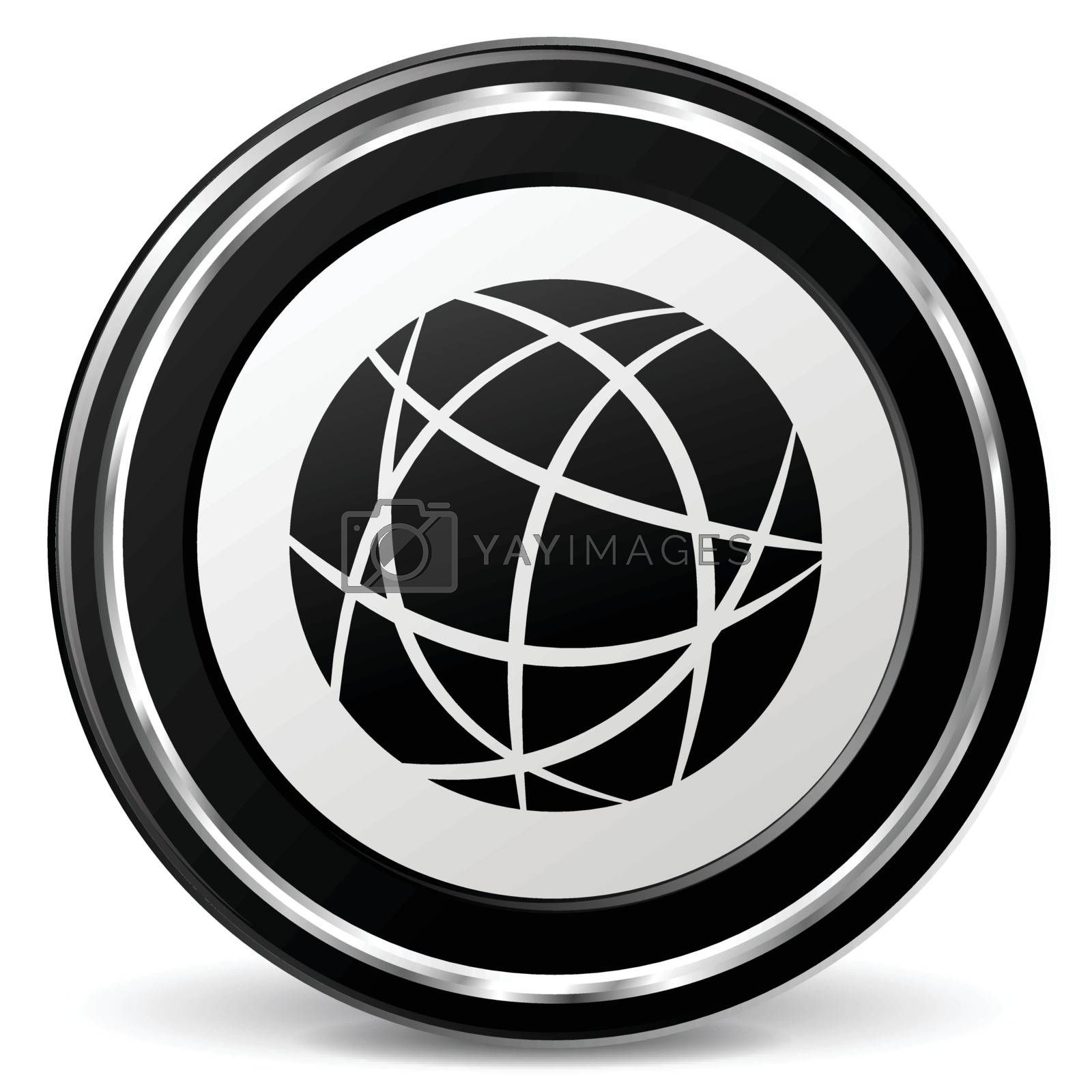 illustration of earth black and silver icon