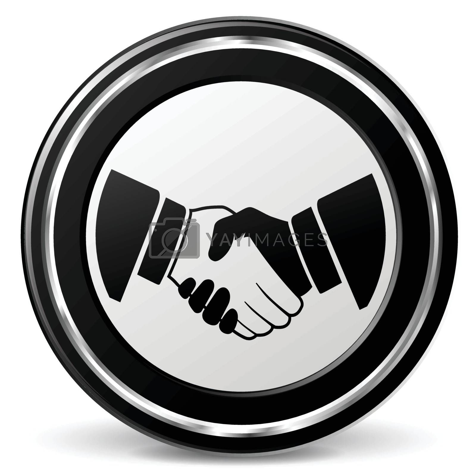 illustration of handshake black and silver icon