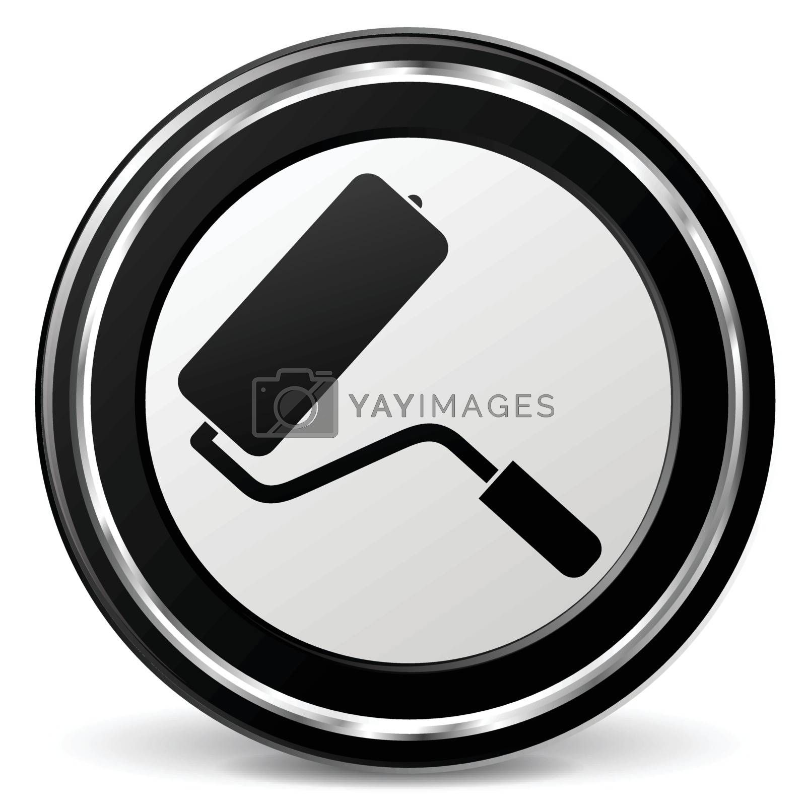 illustration of paint roller black and silver icon
