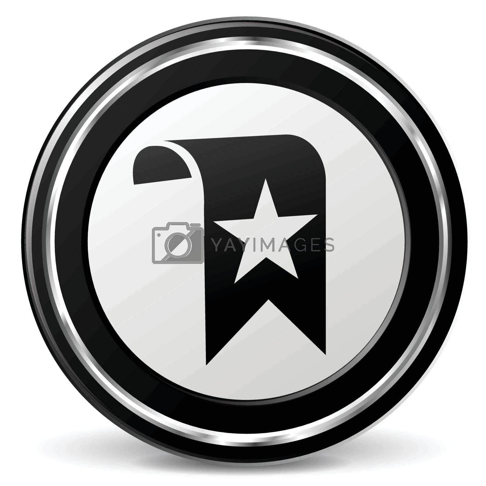 illustration of bookmark black and silver icon